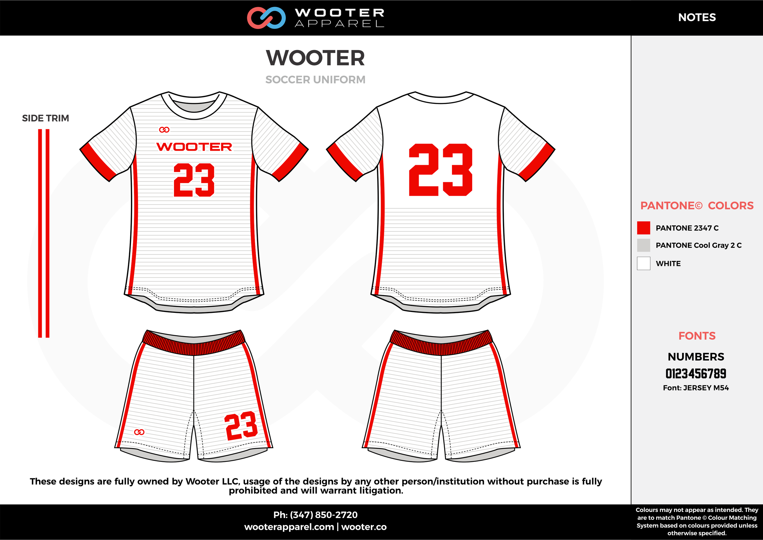WOOTER red white gray custom sublimated soccer uniform jersey shirt shorts