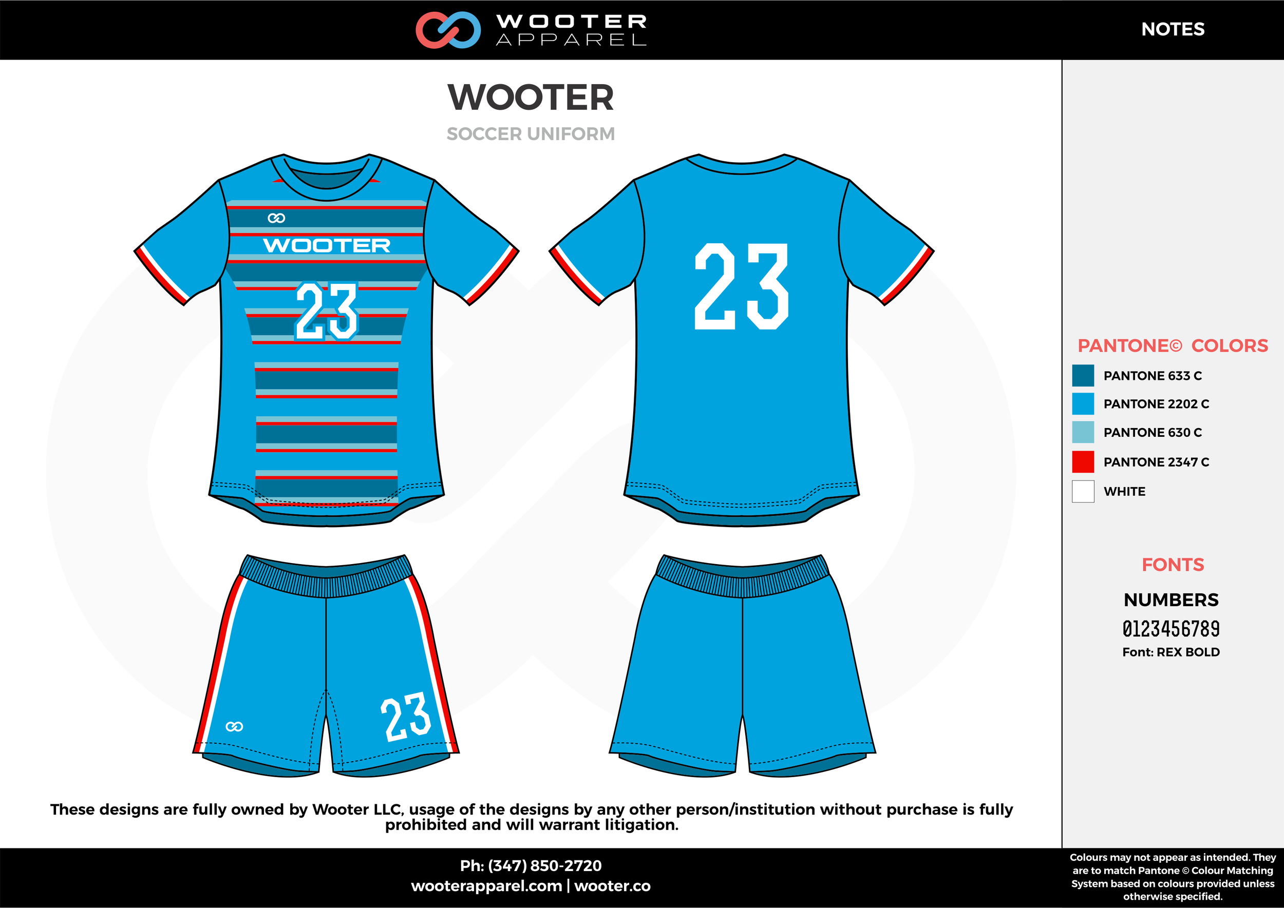 WOOTER blue red white custom sublimated soccer uniform jersey shirt shorts