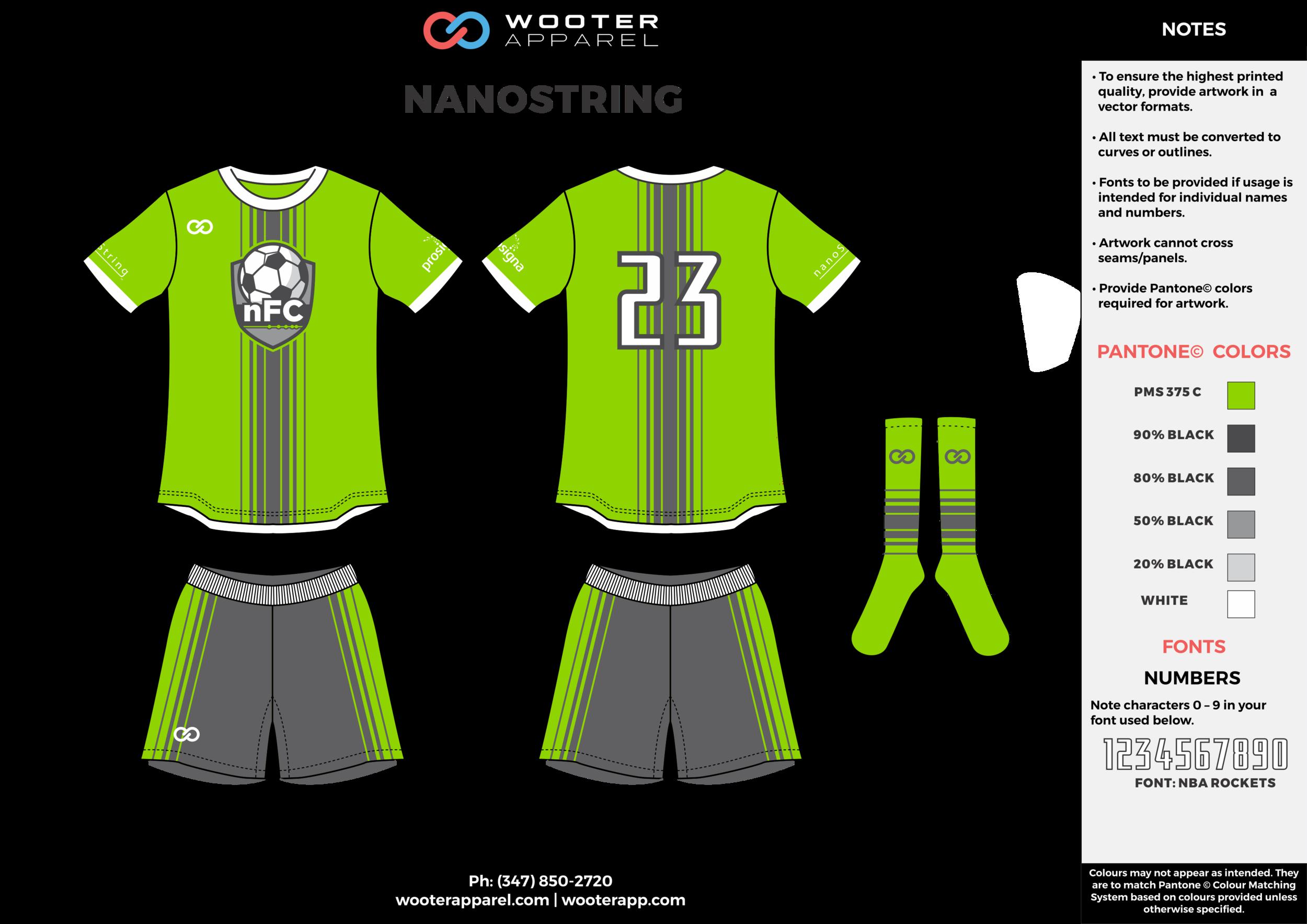NANOSTRING green gray white custom sublimated soccer uniform jersey shirt shorts socks