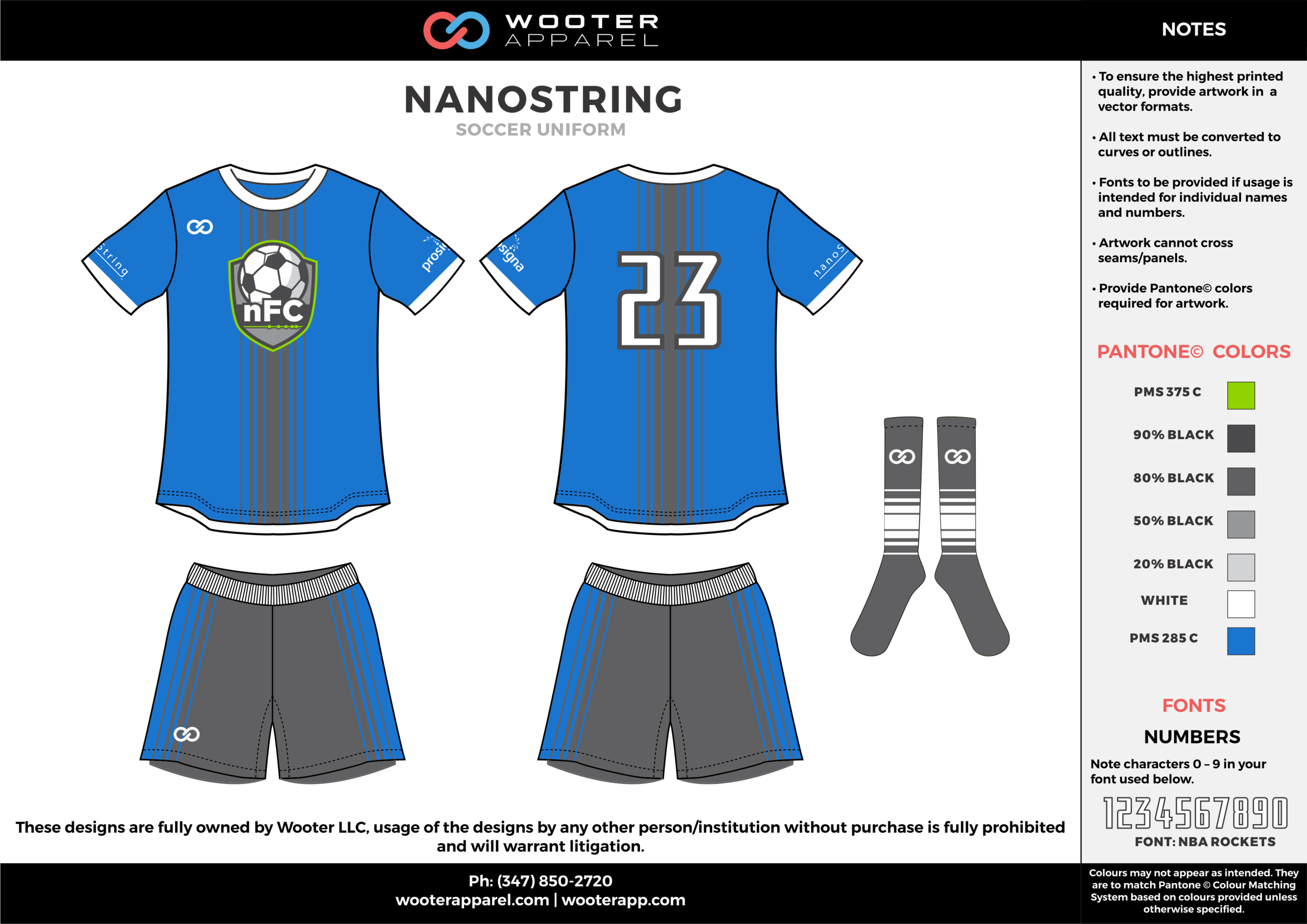 NANOSTRING blue gray white custom sublimated soccer uniform jersey shirt shorts socks