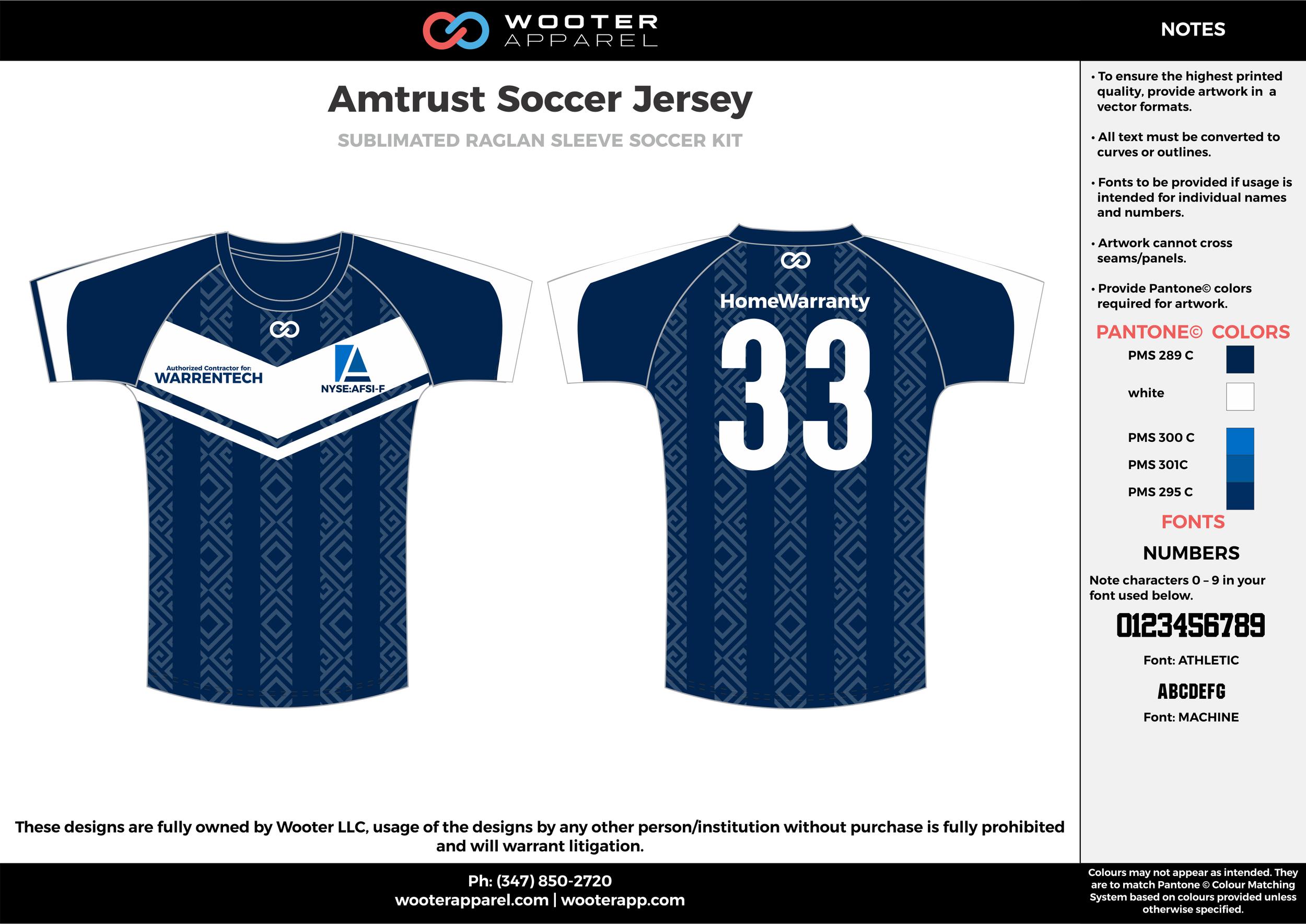 Amtrust navy blue white custom sublimated soccer uniform jersey shirt