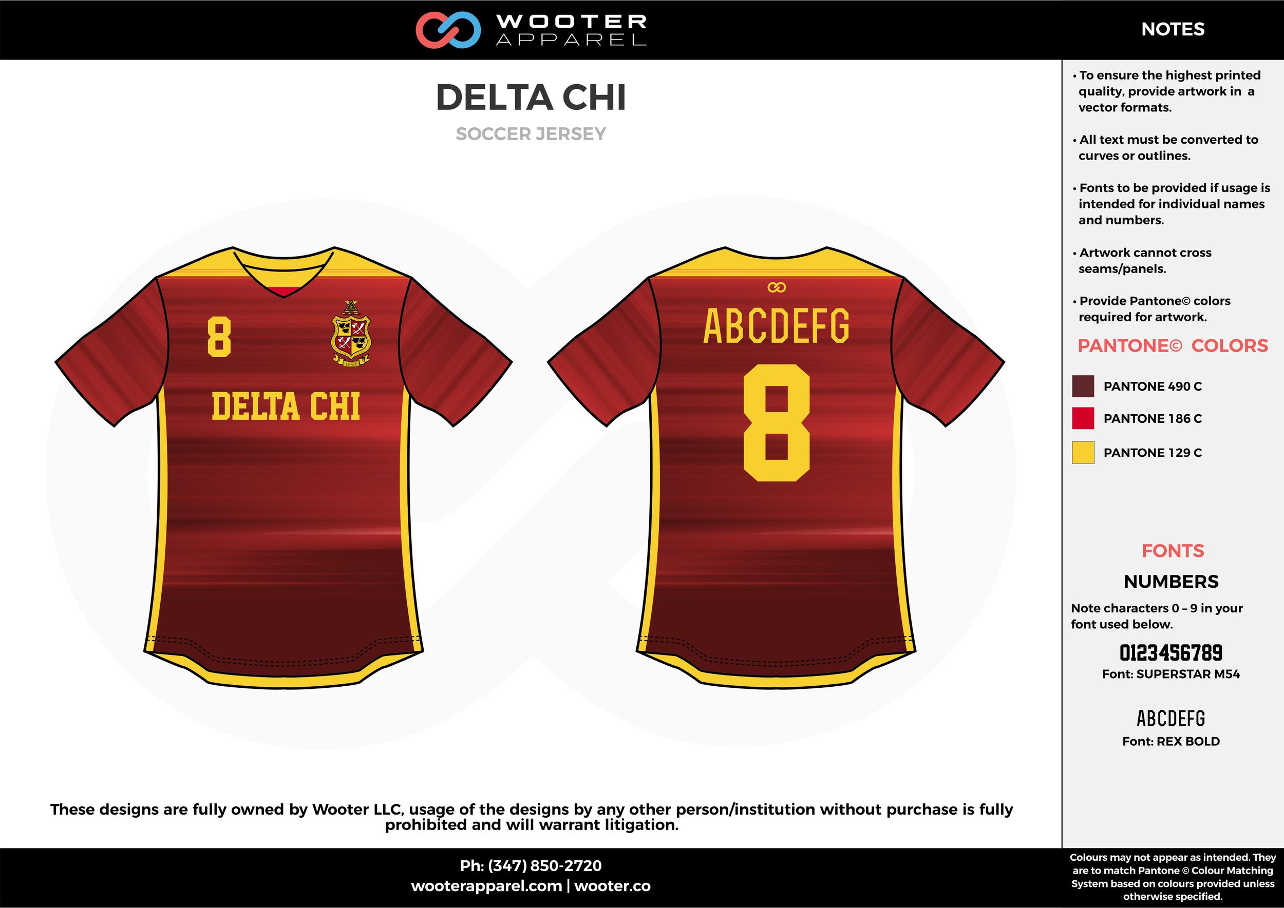 DELTA CHI maroon yellow custom sublimated soccer uniform jersey shirt
