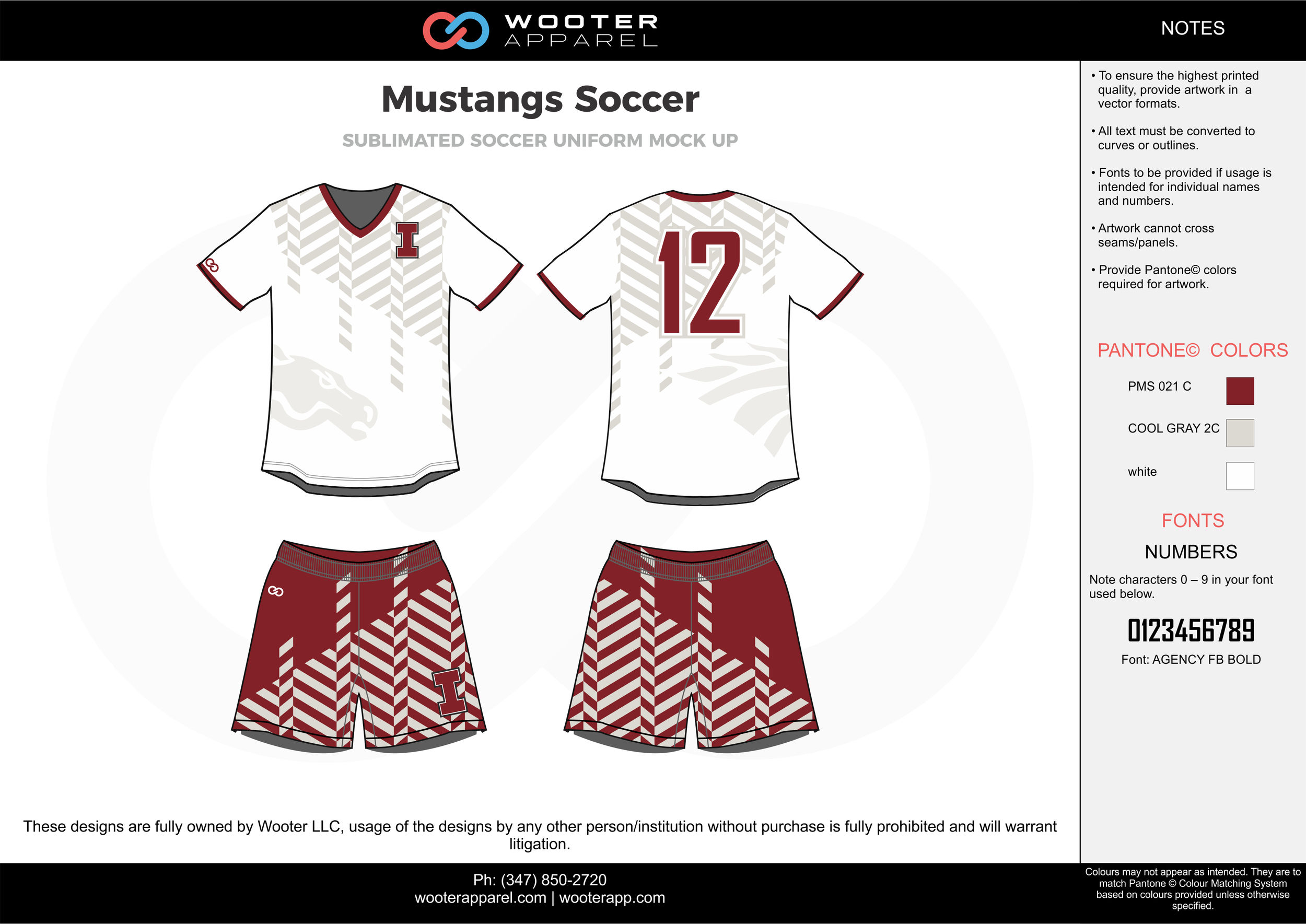 Mustangs red cool gray white custom sublimated soccer uniform jersey shirt shorts