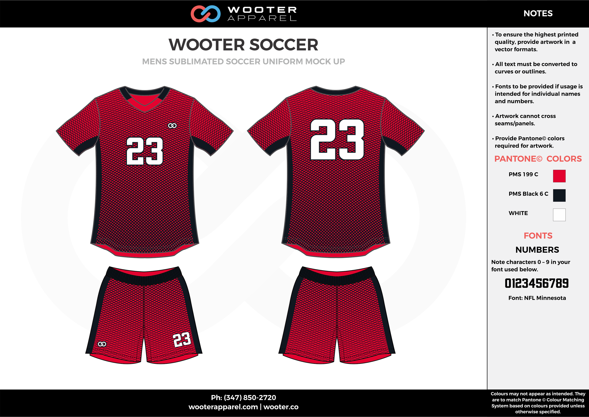 WOOTER red black white custom sublimated soccer uniform jersey shirt shorts