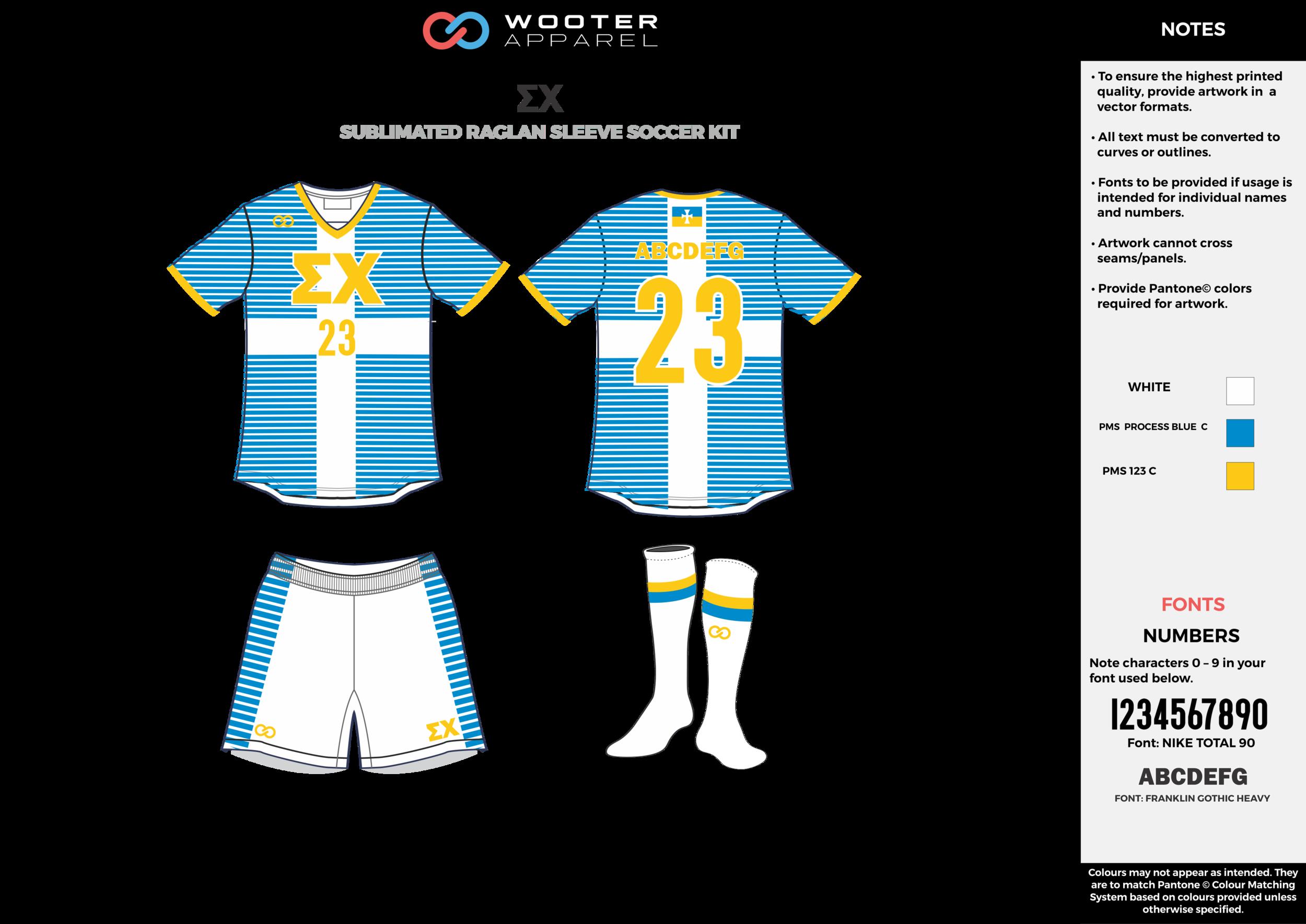EX blue white yellow custom sublimated soccer uniform jersey shirt shorts socks