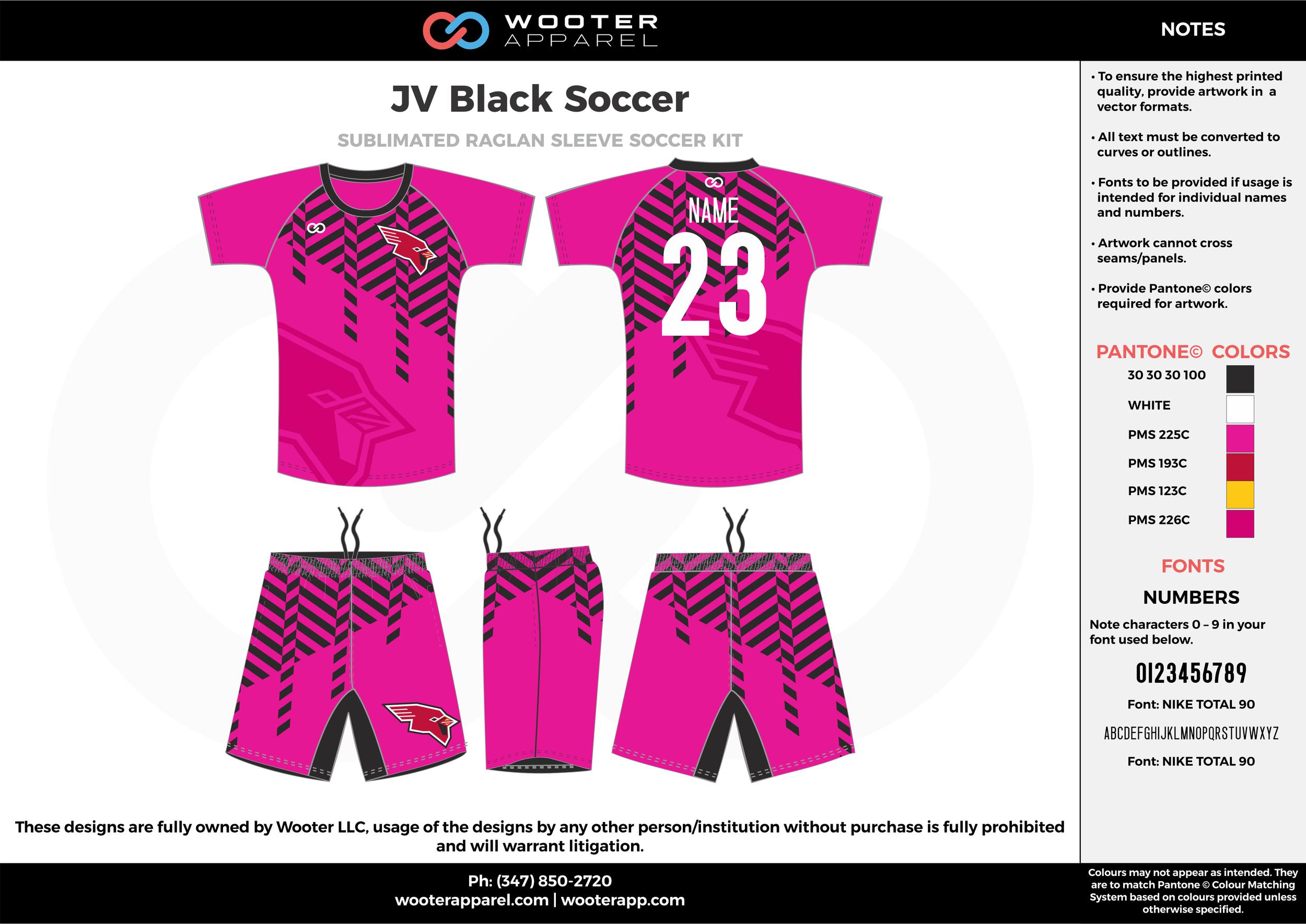 JV Black Soccer fuchsia pink black white custom sublimated soccer uniform jersey shirt shorts