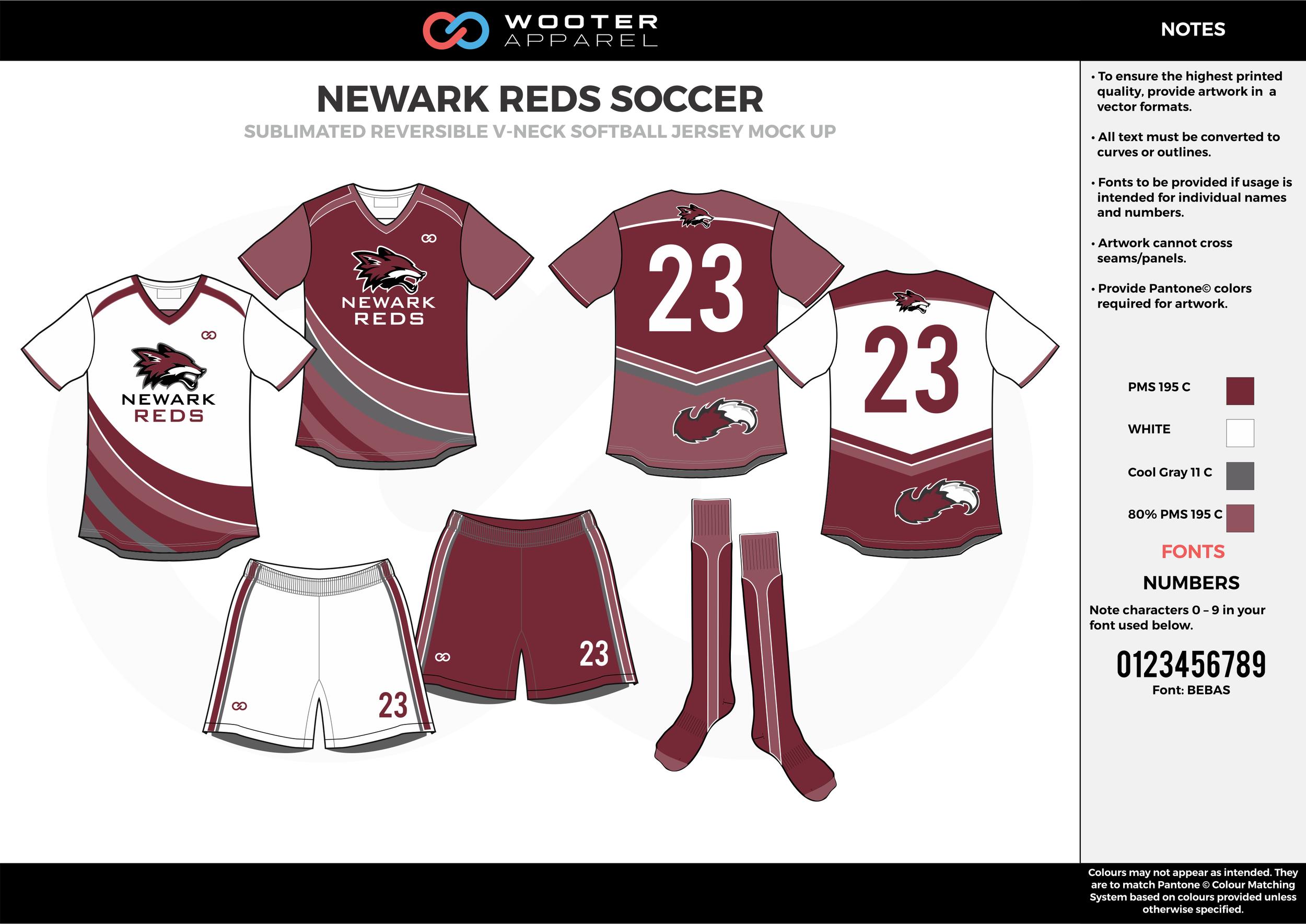 NEWARK REDS wine red white gray custom sublimated soccer uniform jersey shirt shorts socks