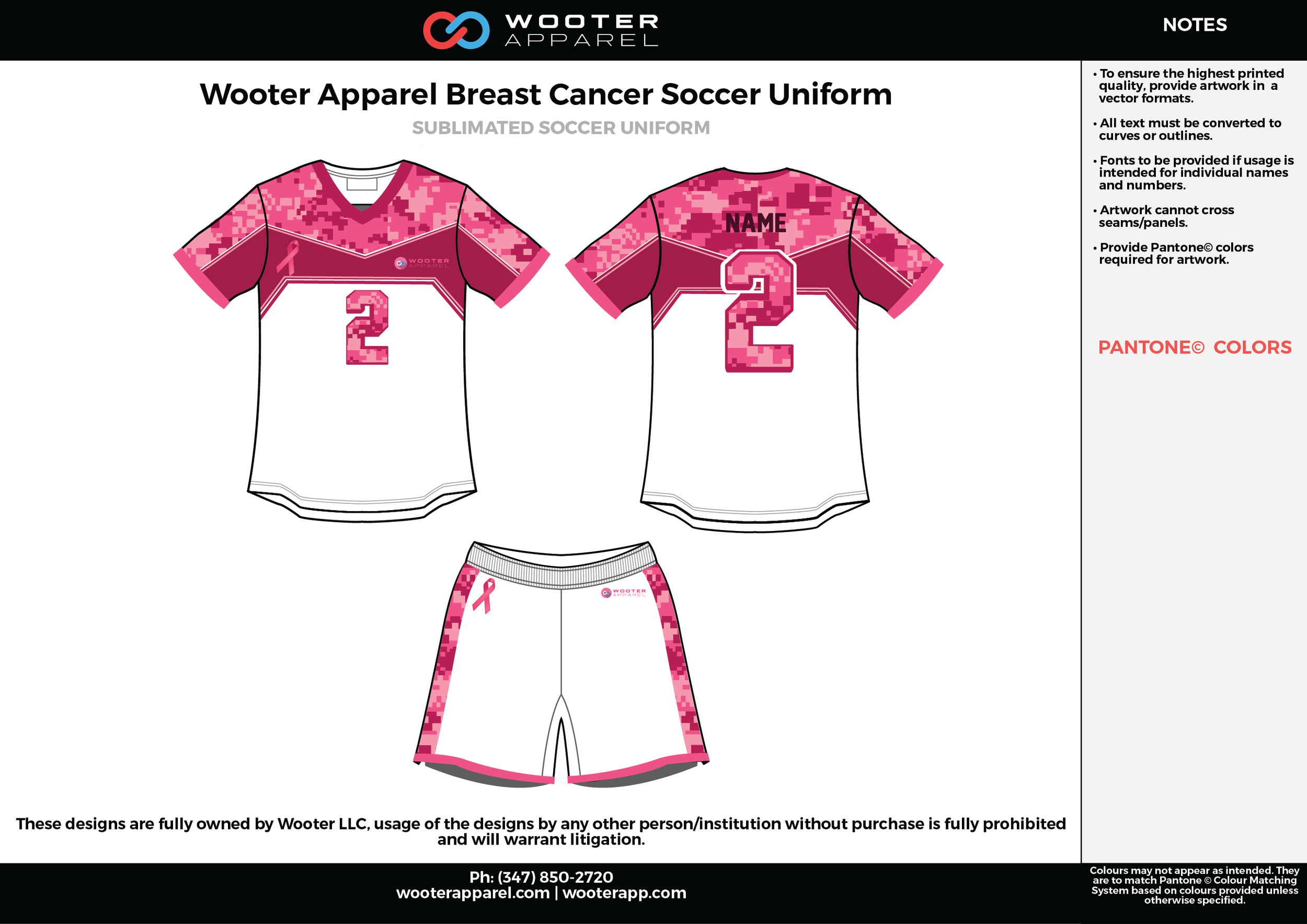 Wooter Apparel white pink custom sublimated soccer uniform jersey shirt shorts