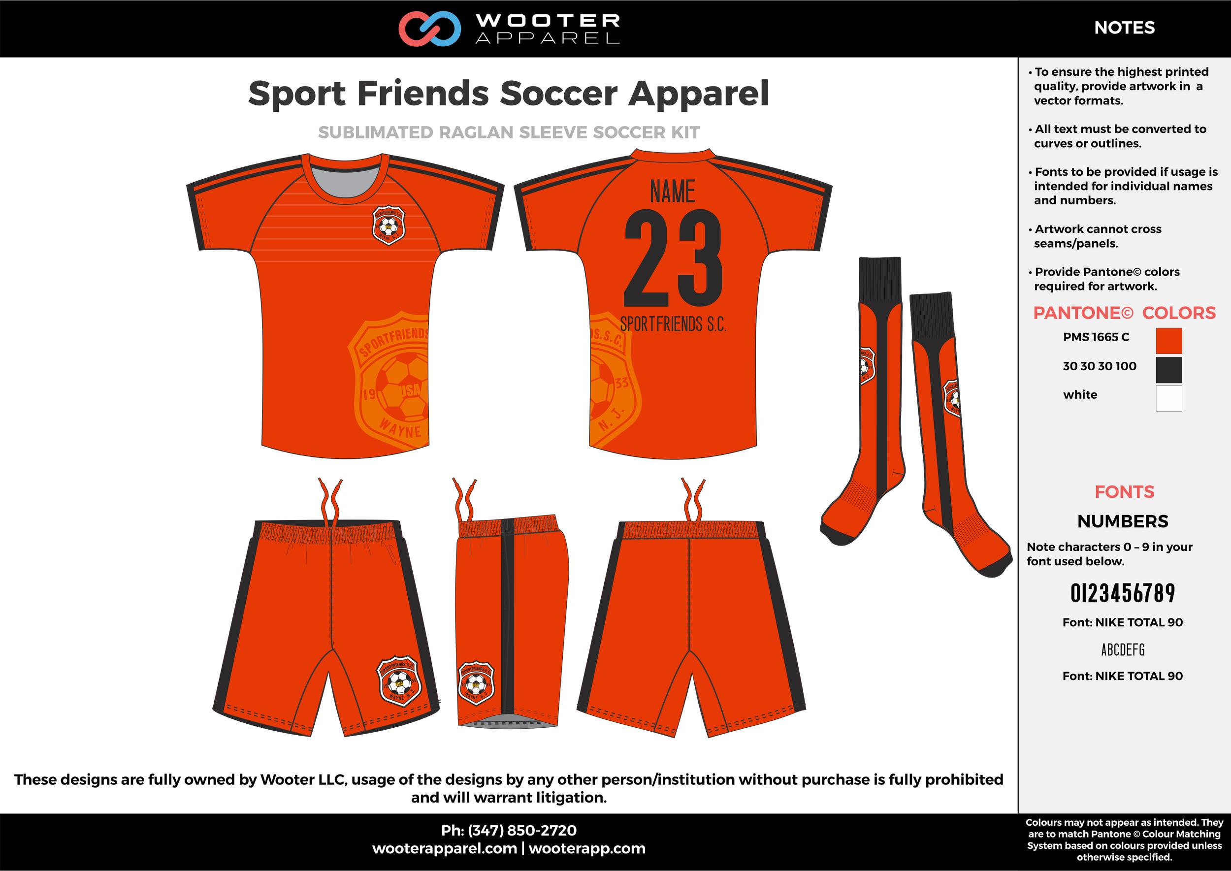 Sport Friends orange black custom sublimated soccer uniform jersey shirt shorts socks