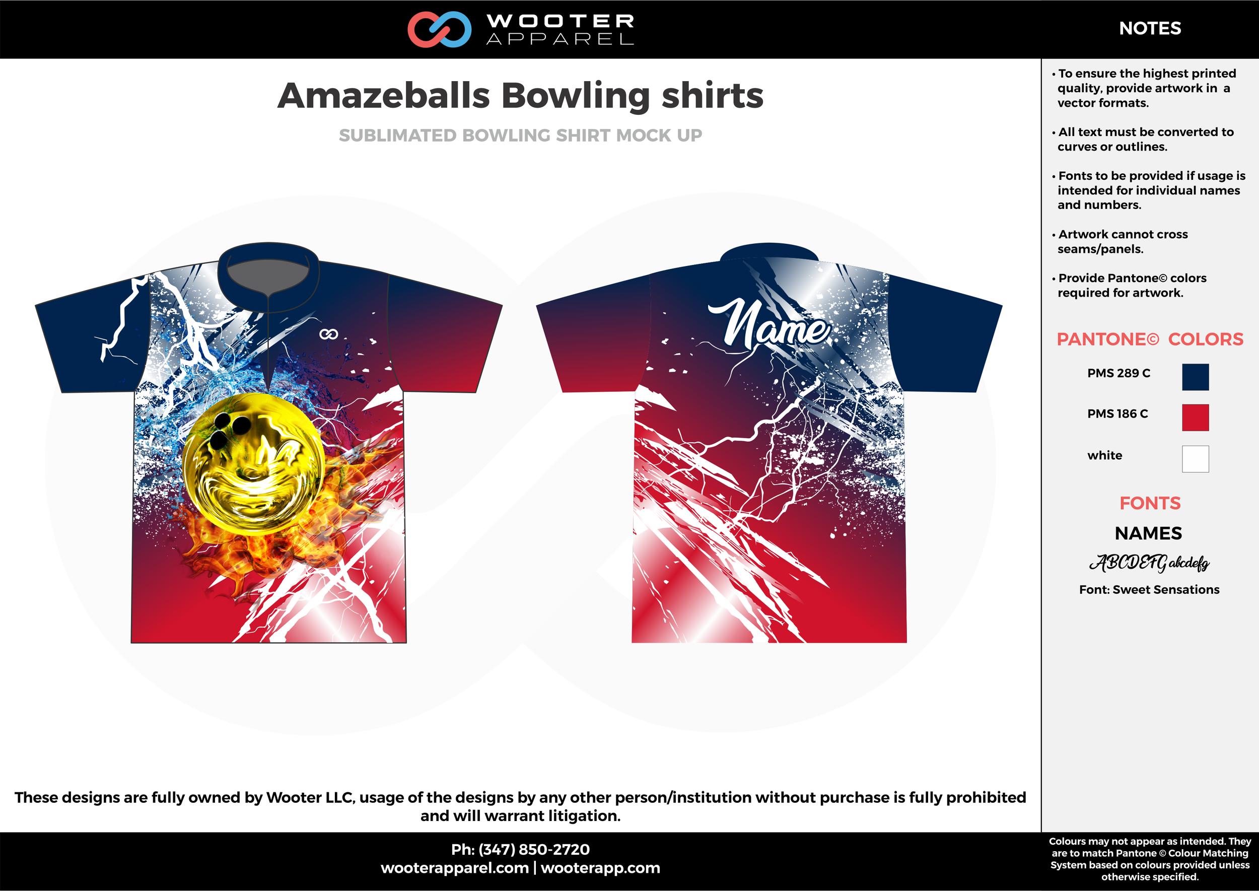 Amazeballs red navy blue yellow bowling uniforms, shirts, quarter zip polo