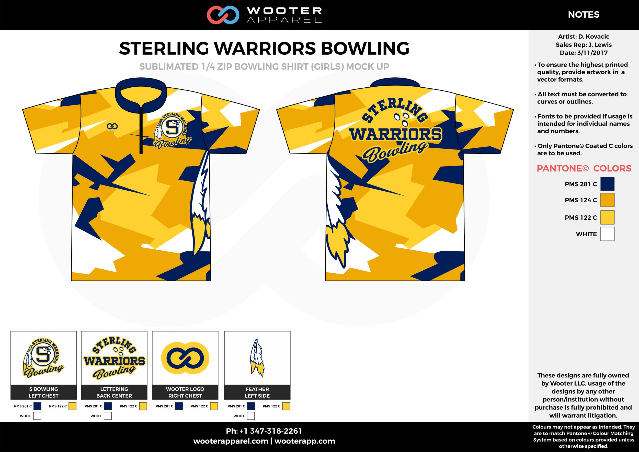 STERLING WARRIORS yellow blue white bowling uniforms, shirts, quarter zip polo