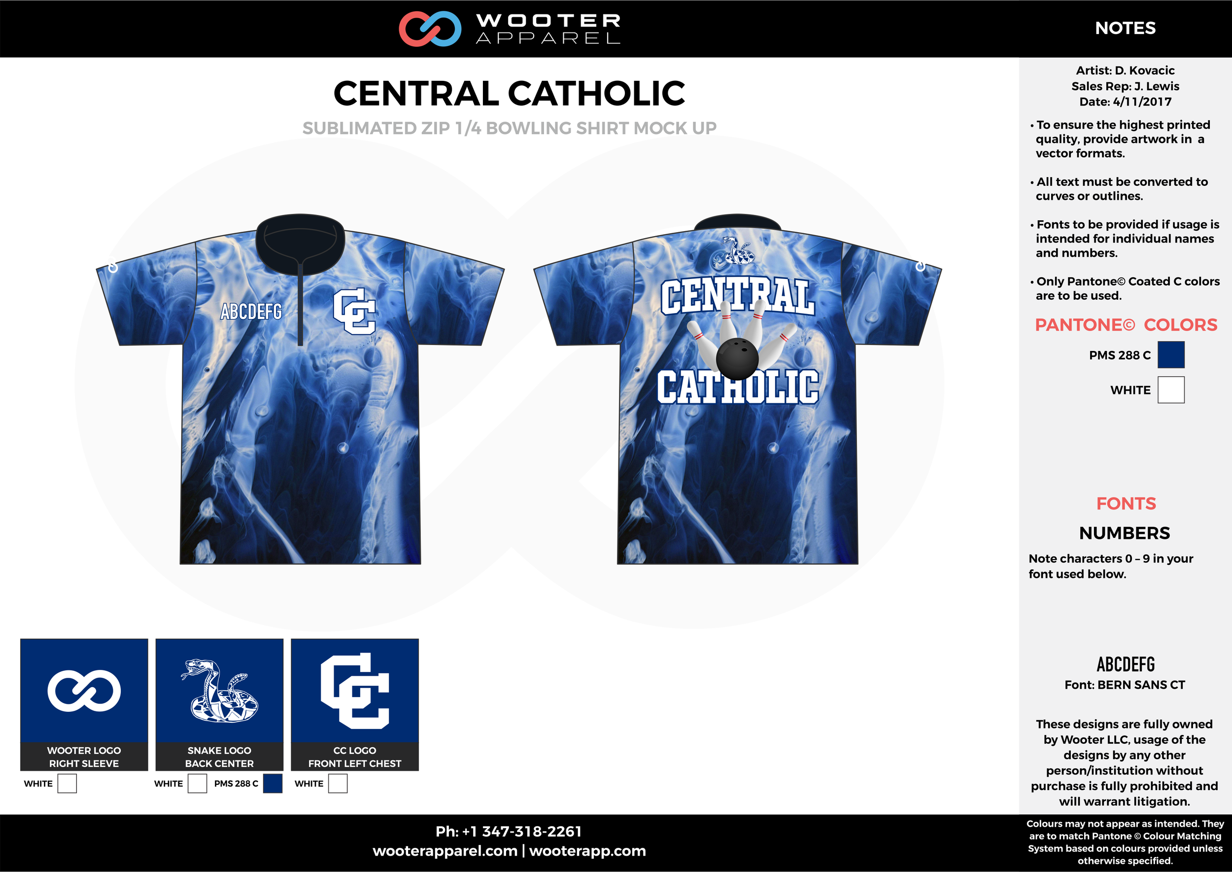 CENTRAL CATHOLIC blue white bowling uniforms, shirts, quarter zip polo