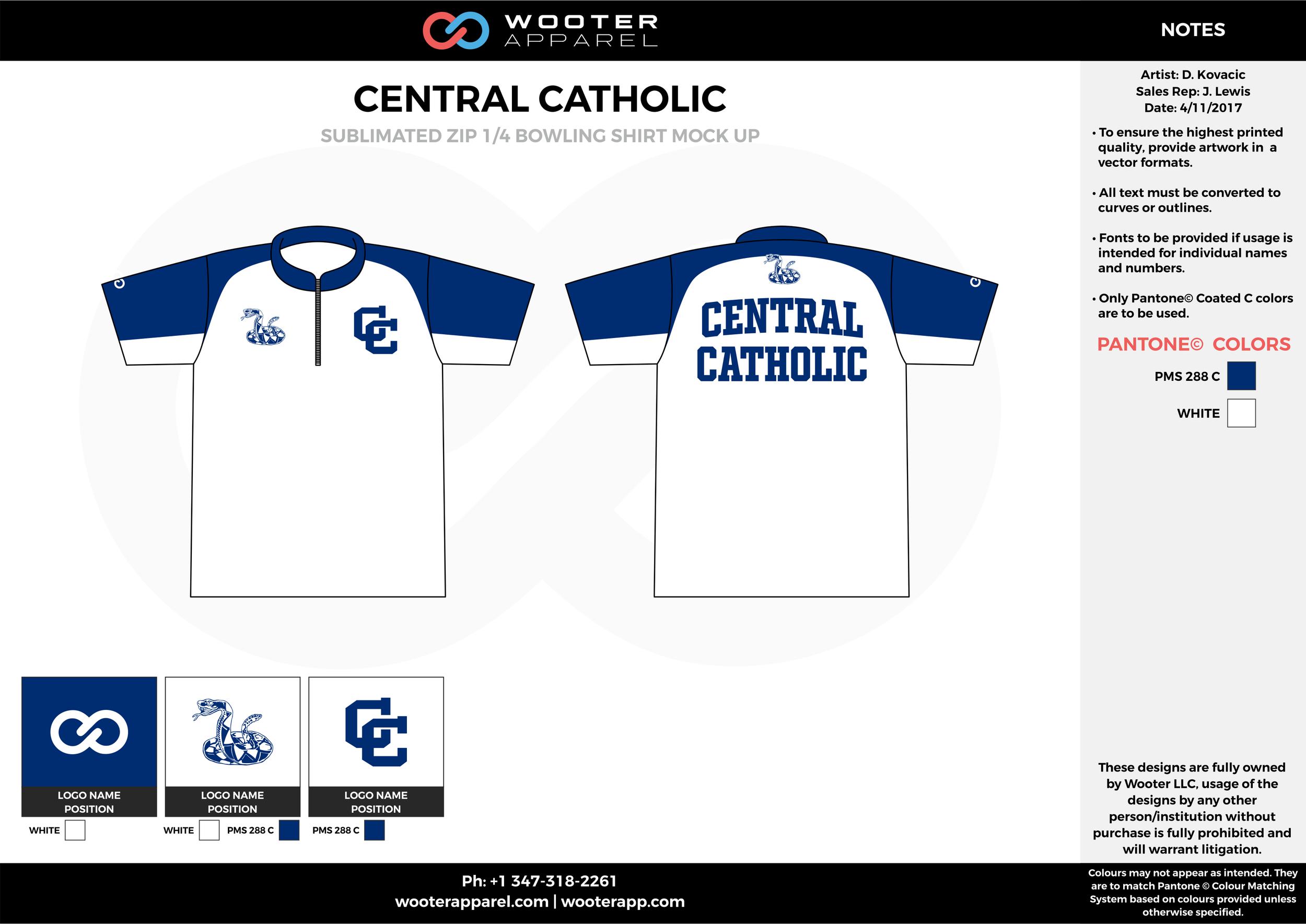 CENTRAL CATHOLIC white blue bowling uniforms, shirts, quarter zip polo