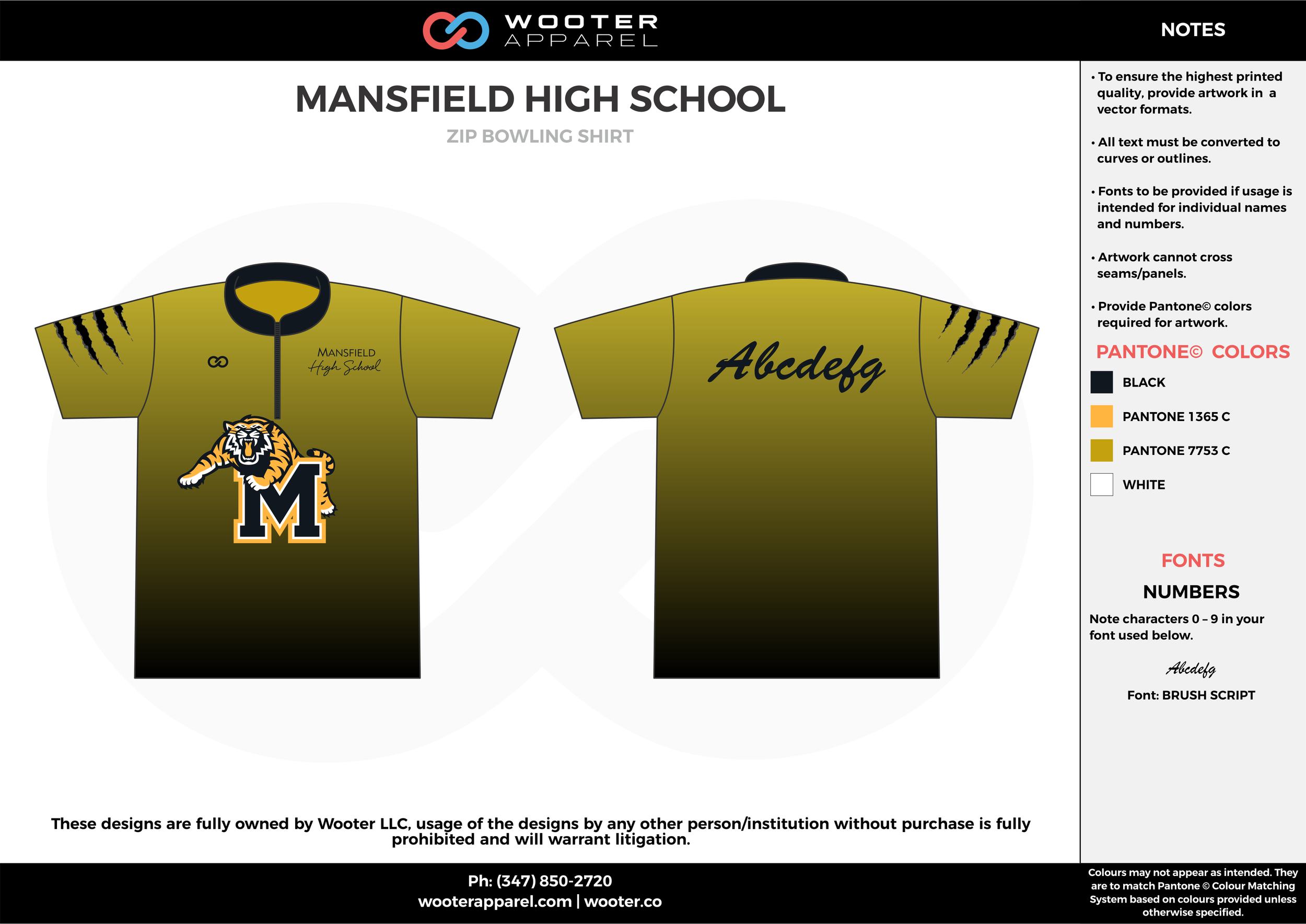 MANSFIELD HIGH SCHOOL olive green black orange bowling uniforms, shirts, quarter zip polo