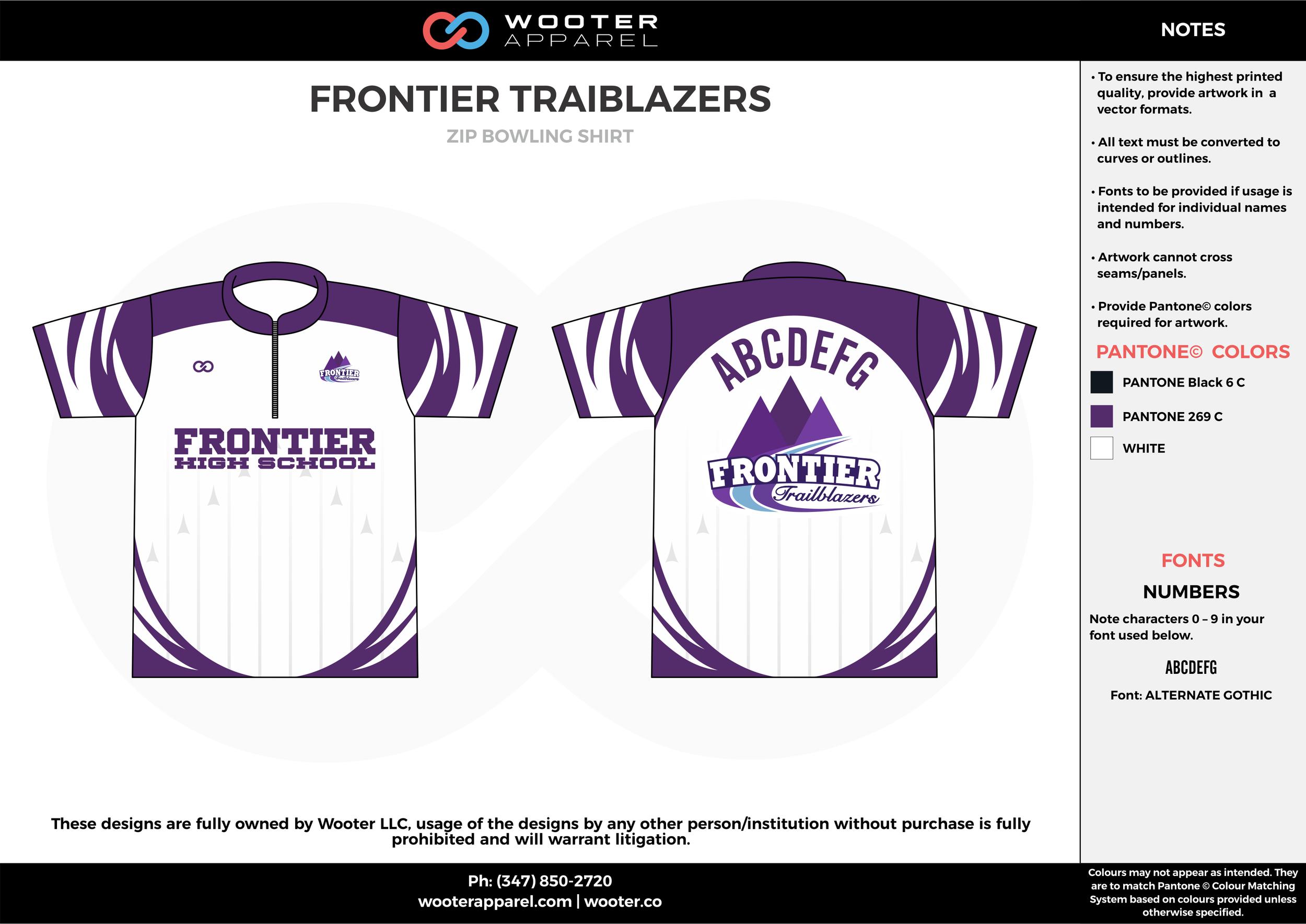 FRONTIER TRAIBLAZERS violet white bowling uniforms, shirts, quarter zip polo