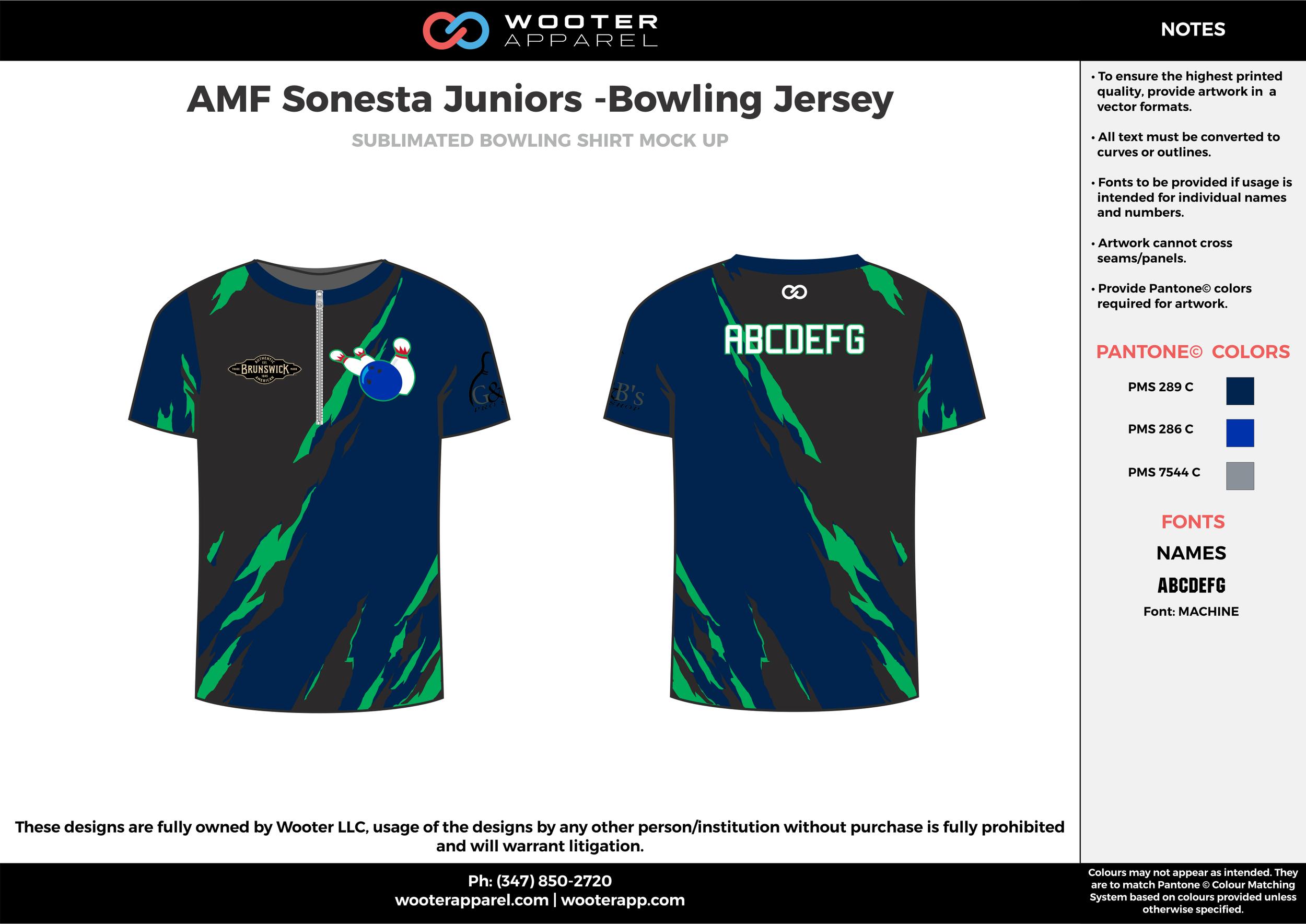 AMF Sonesta Juniors blue black green bowling uniforms, shirts, quarter zip polo