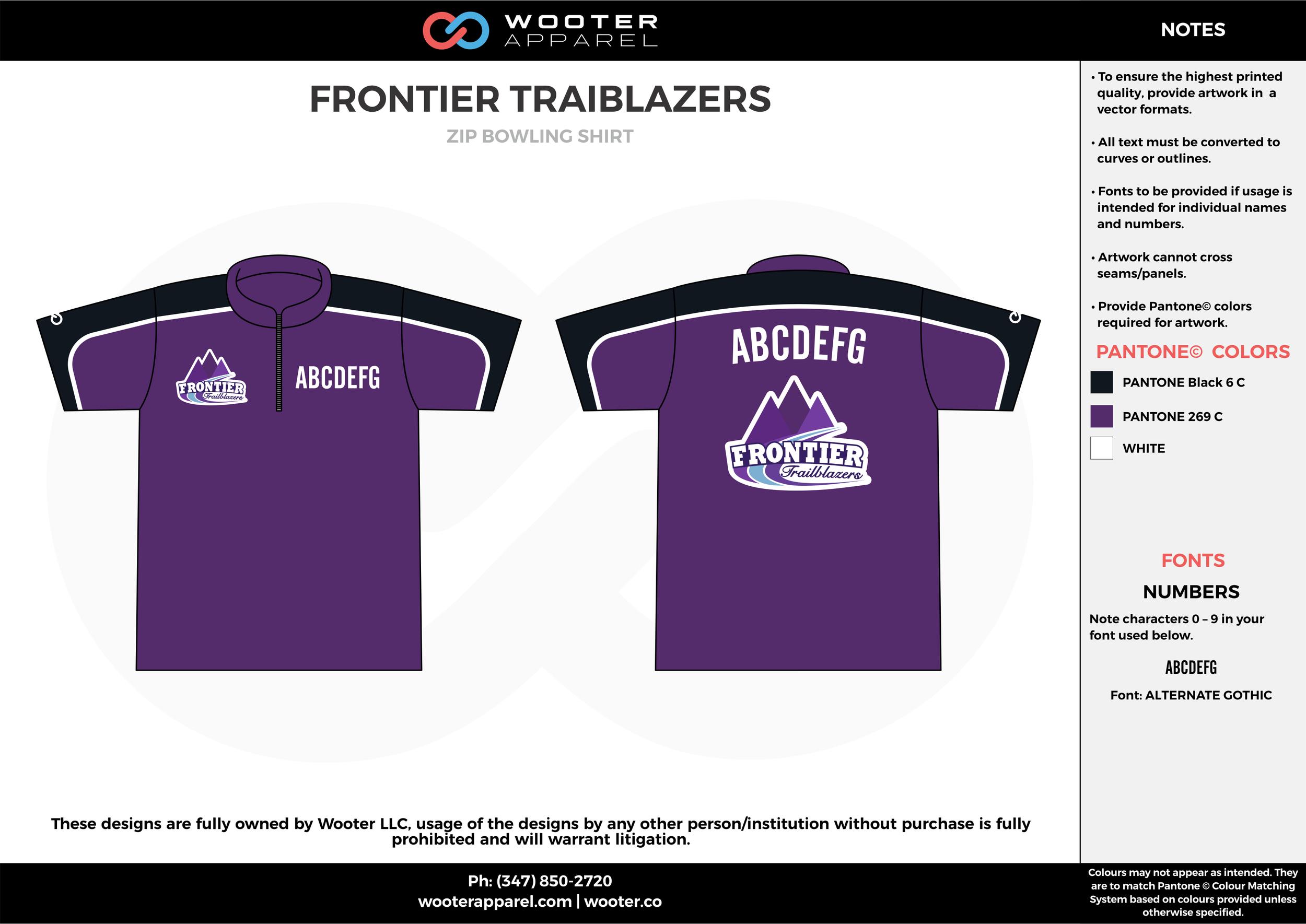FRONTIER TRAIBLAZERS violet black white bowling uniforms, shirts, quarter zip polo
