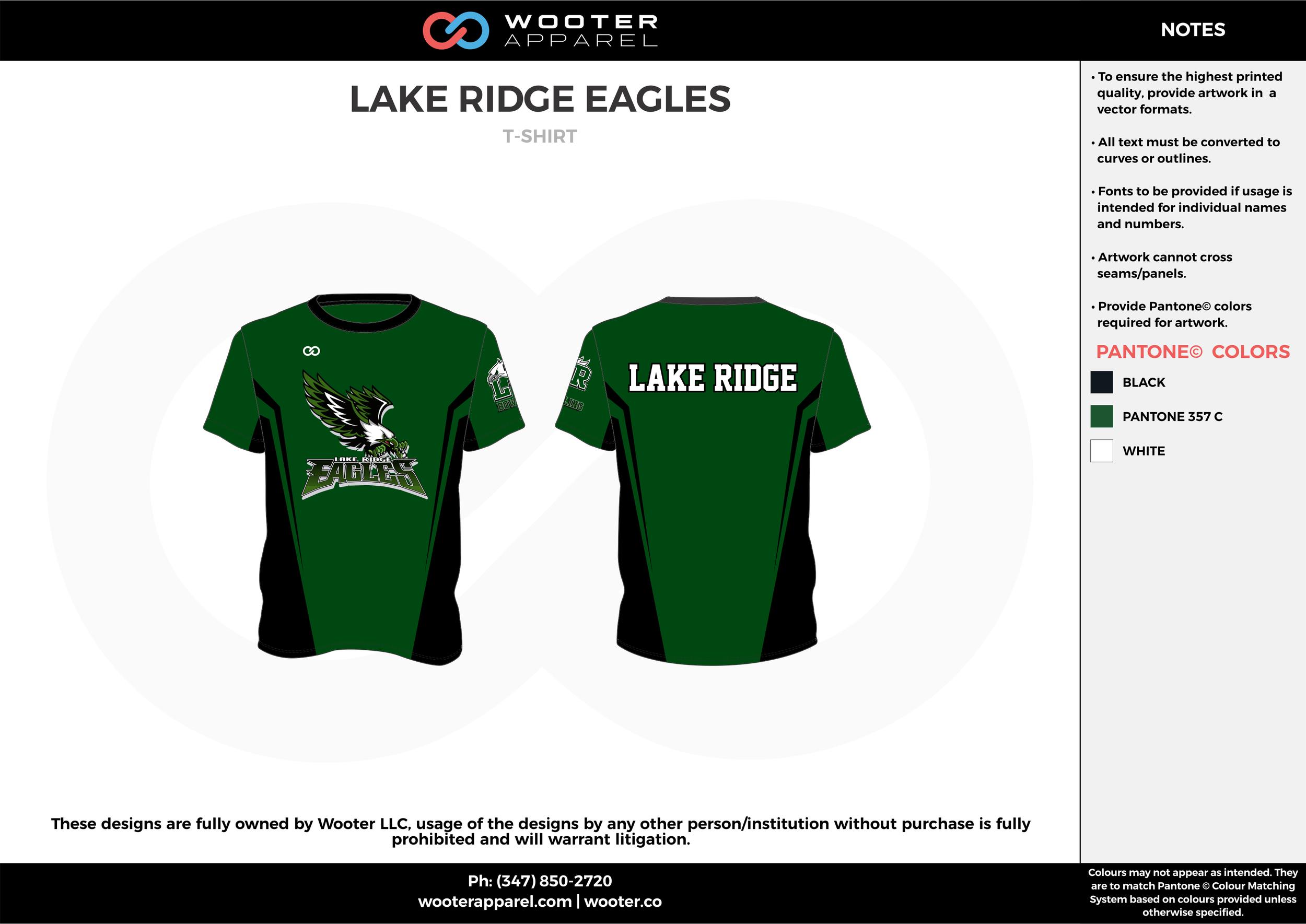 LAKE RIDGE EAGLES green black white bowling uniforms, shirts, quarter zip polo