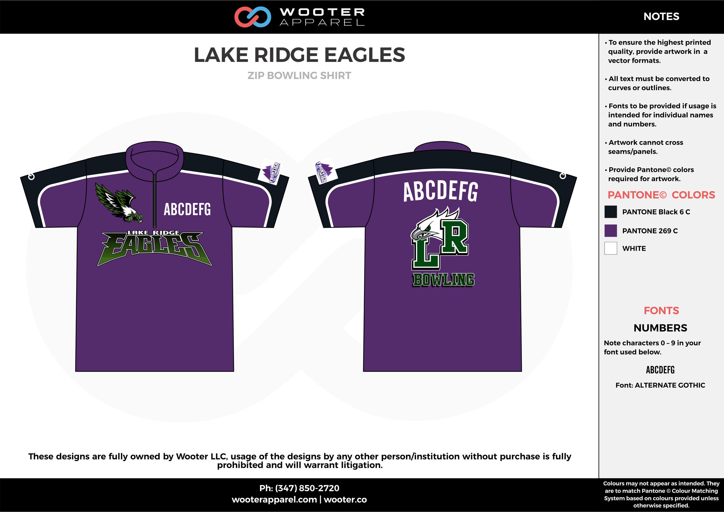 LAKE RIDGE EAGLES violet black white bowling uniforms, shirts, quarter zip polo