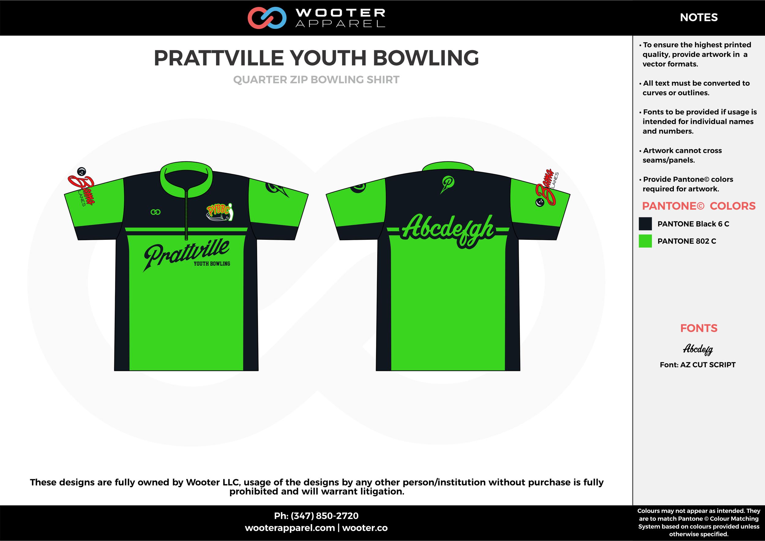 PRATTVILLE YOUTH green black bowling uniforms, shirts, quarter zip polo