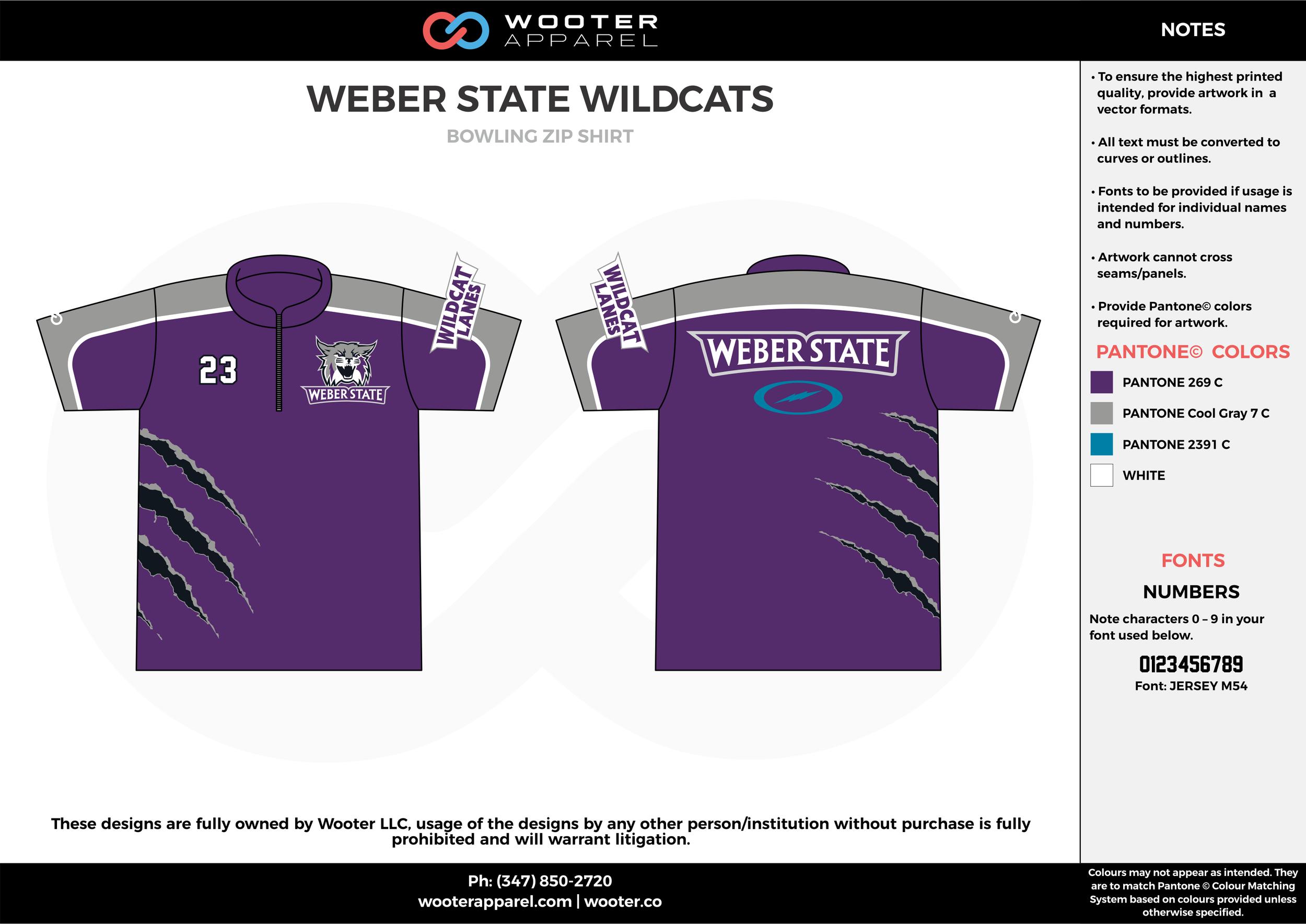 WEBER STATE WILDCATS violet gray blue bowling uniforms, shirts, quarter zip polo