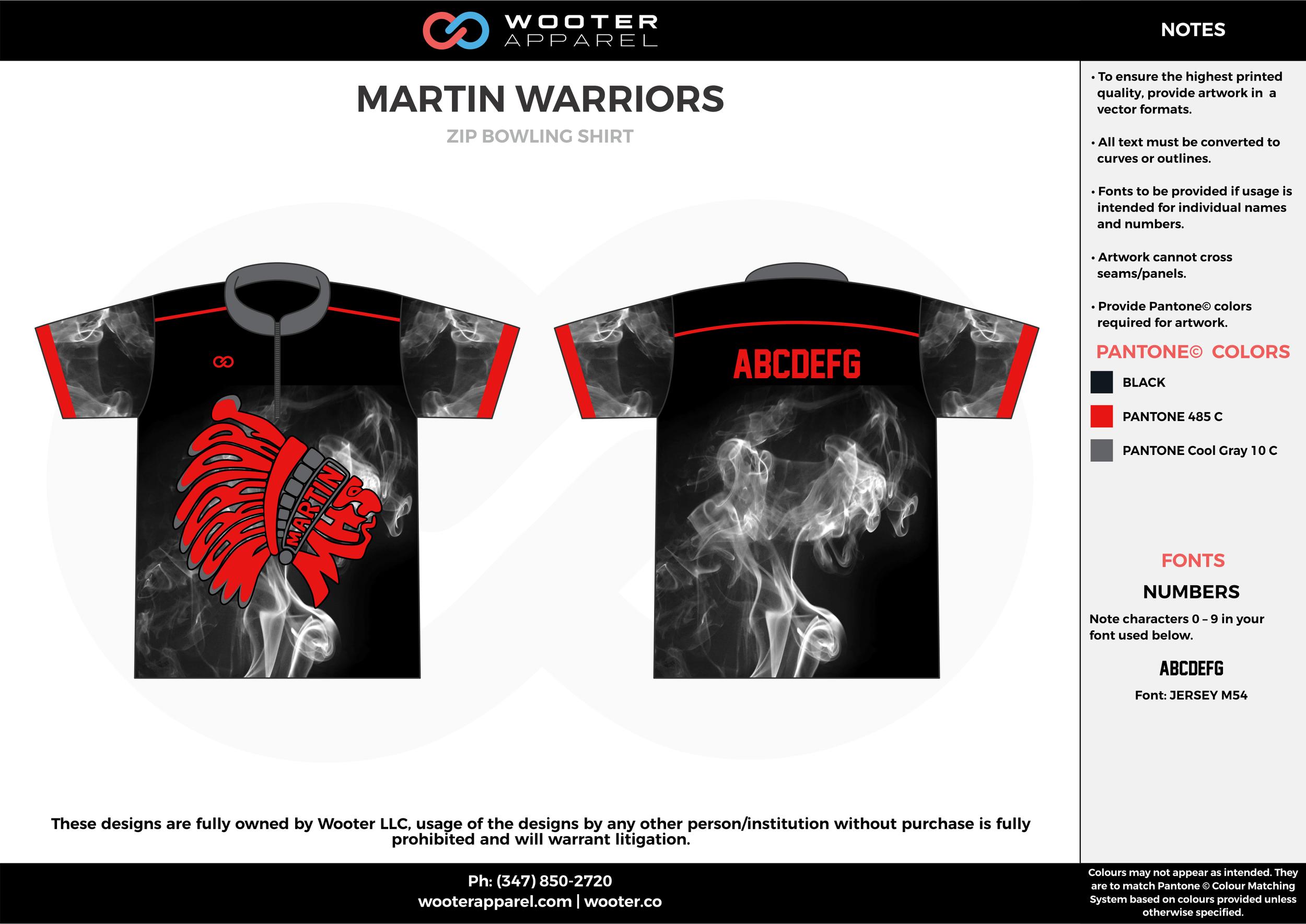 MARTIN WARRIORS red black gray bowling uniforms, shirts, quarter zip polo