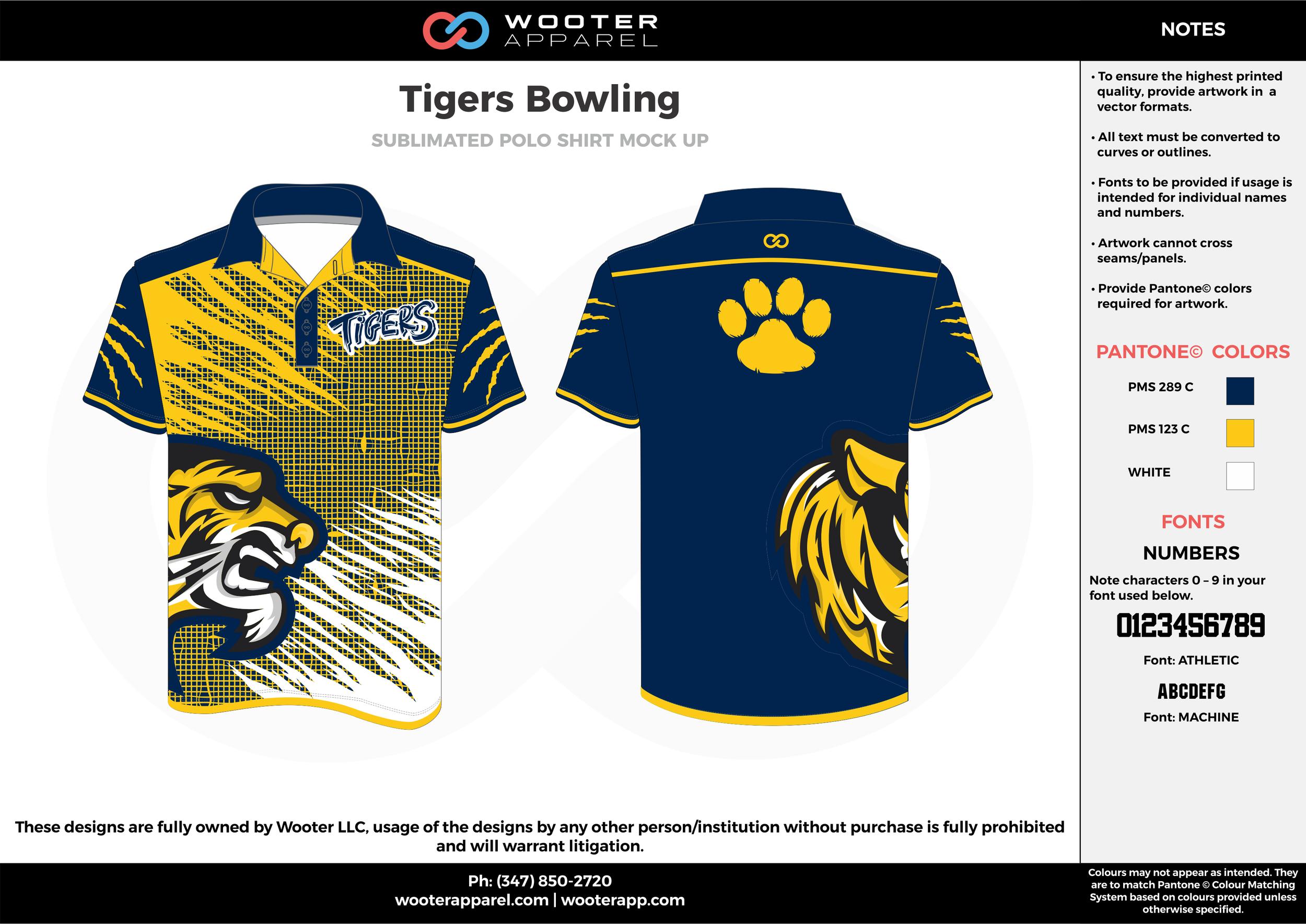 Tigers Bowling navy blue yellow white bowling uniforms, shirts, quarter zip polo