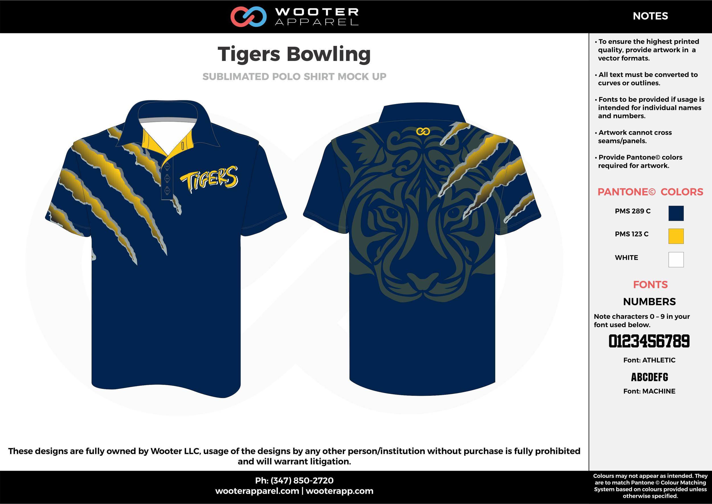 Tigers Bowling navy blue yellow bowling uniforms, shirts, quarter zip polo