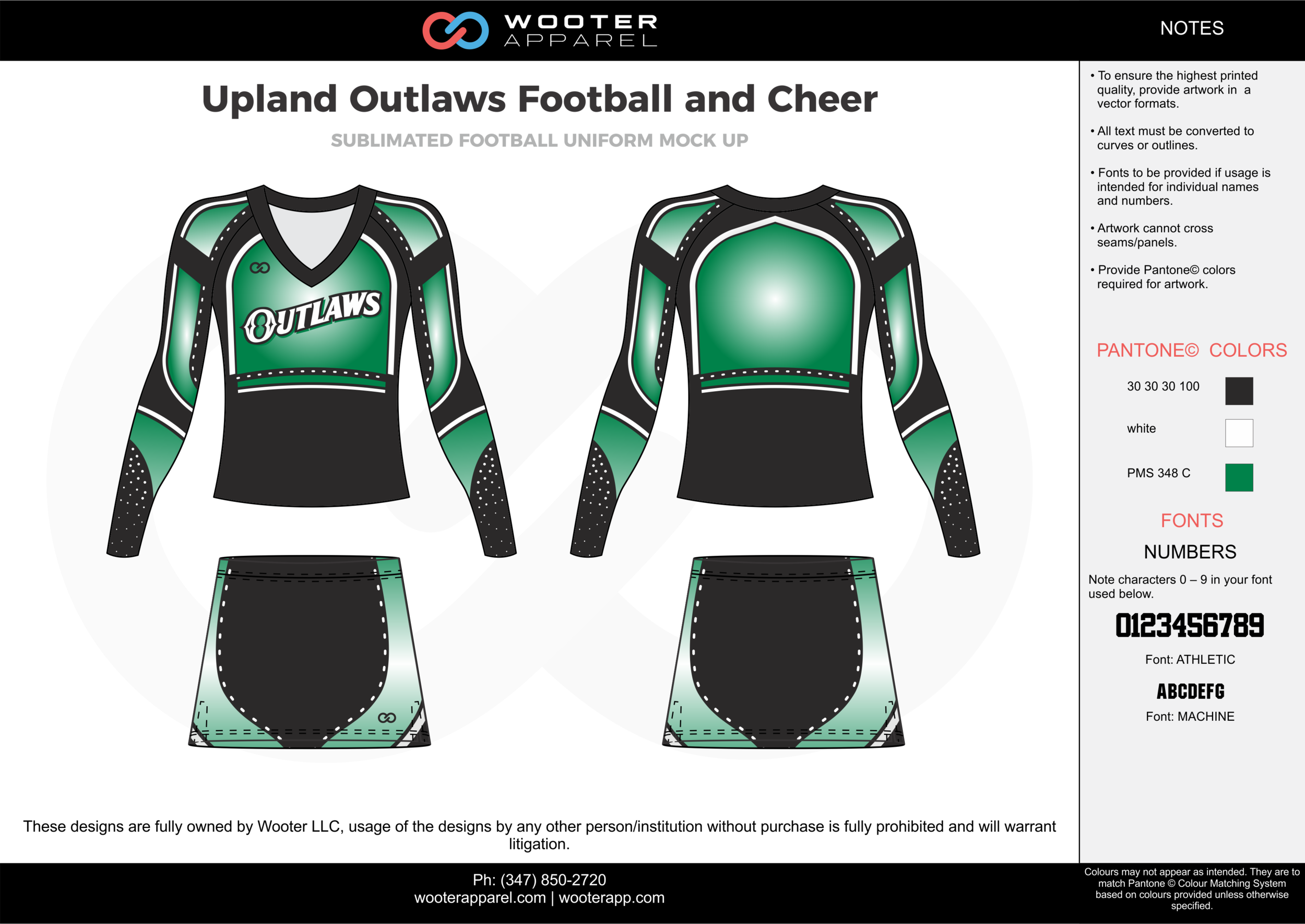 Upland Outlaws Football and Cheer green black white cheerleading uniforms, top, and skirt
