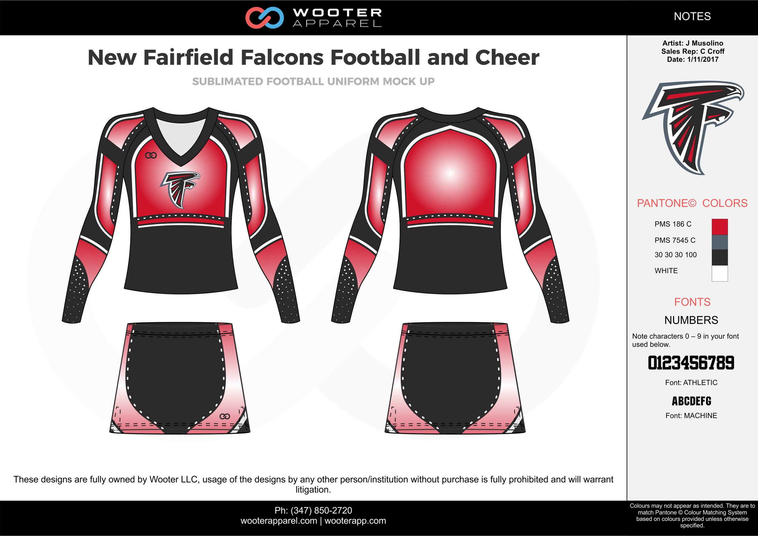 New Fairfield Falcons red black gray white cheerleading uniforms, top, and skirt