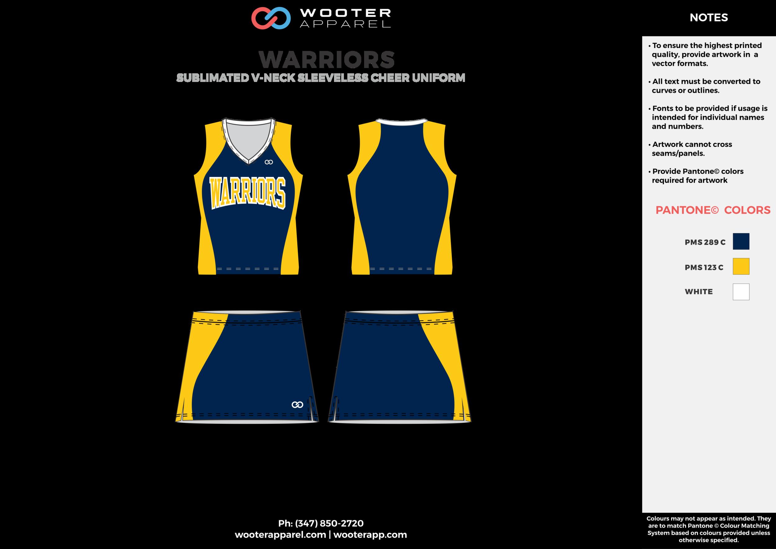 WARRIORS yellow navy blue cheerleading uniforms, top, and skirt