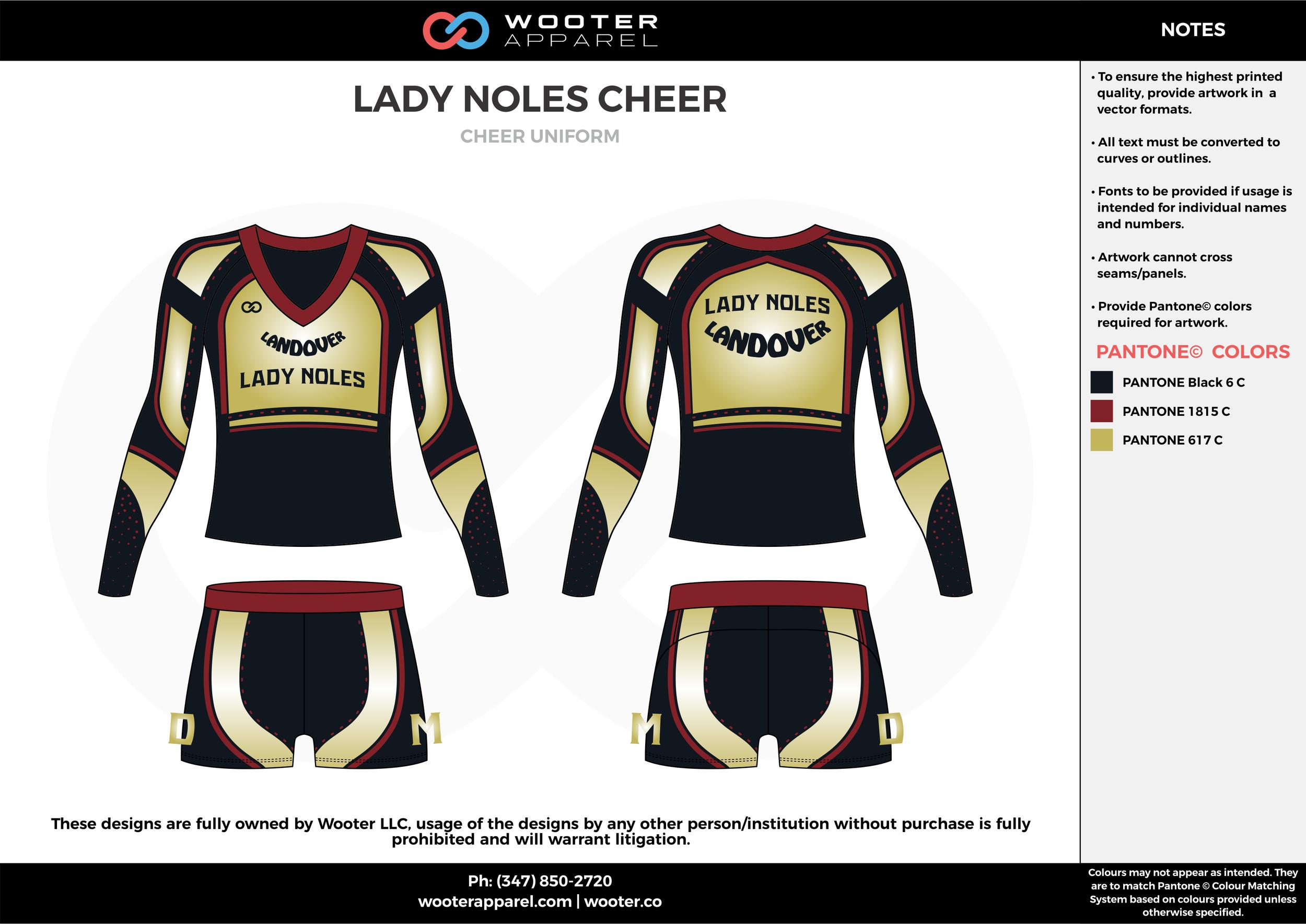 LADY NOLES CHEER black maroon gold cheerleading uniforms, top, and shorts
