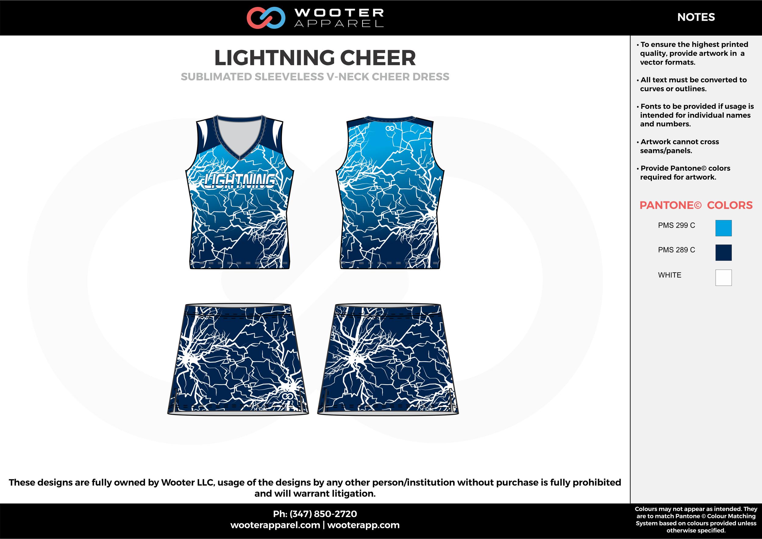 LIGHTNING CHEER sky blue dark blue cheerleading uniforms, top, and skirt