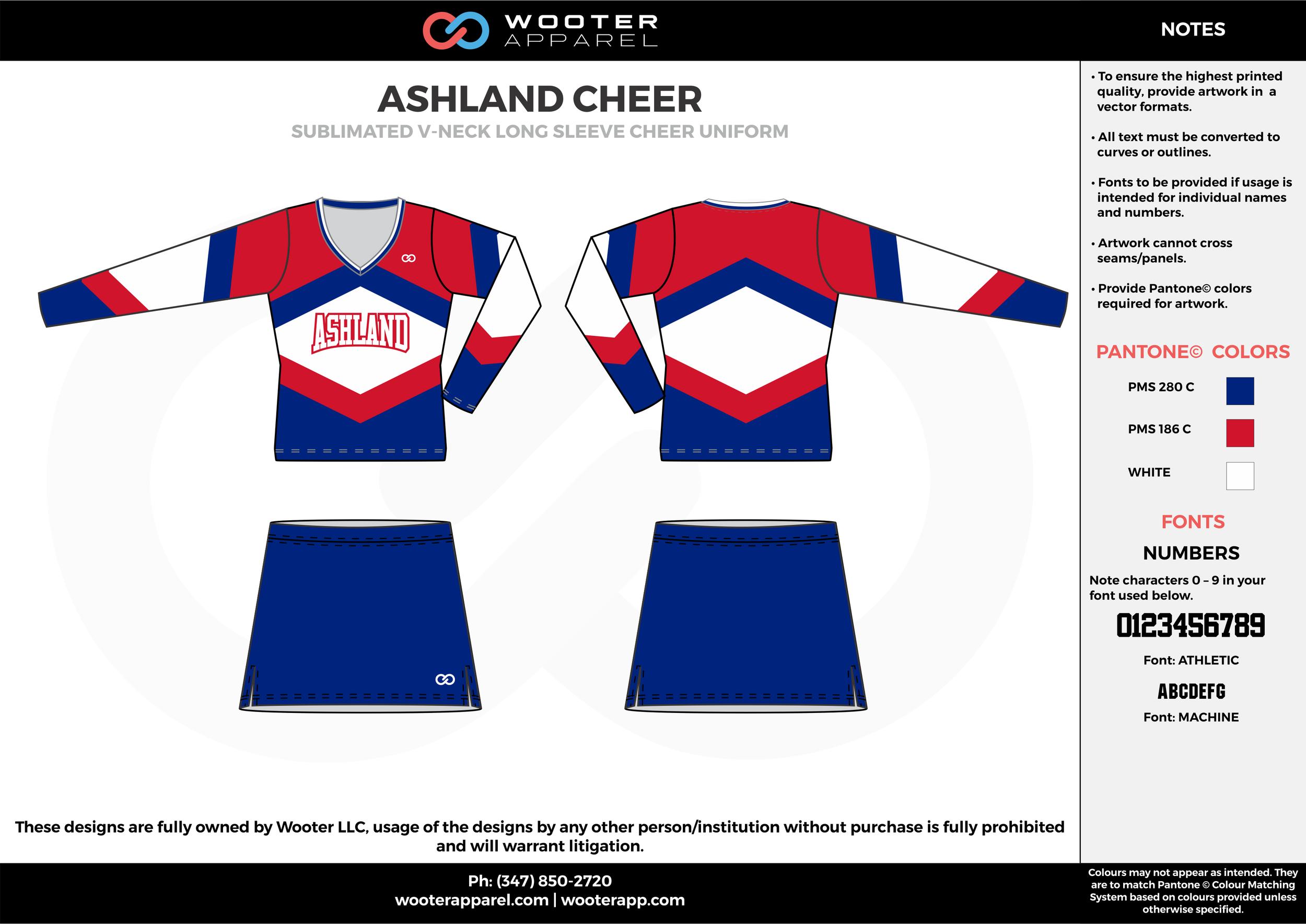 ASHLAND CHEER red blue white cheerleading uniforms, top, and skirt
