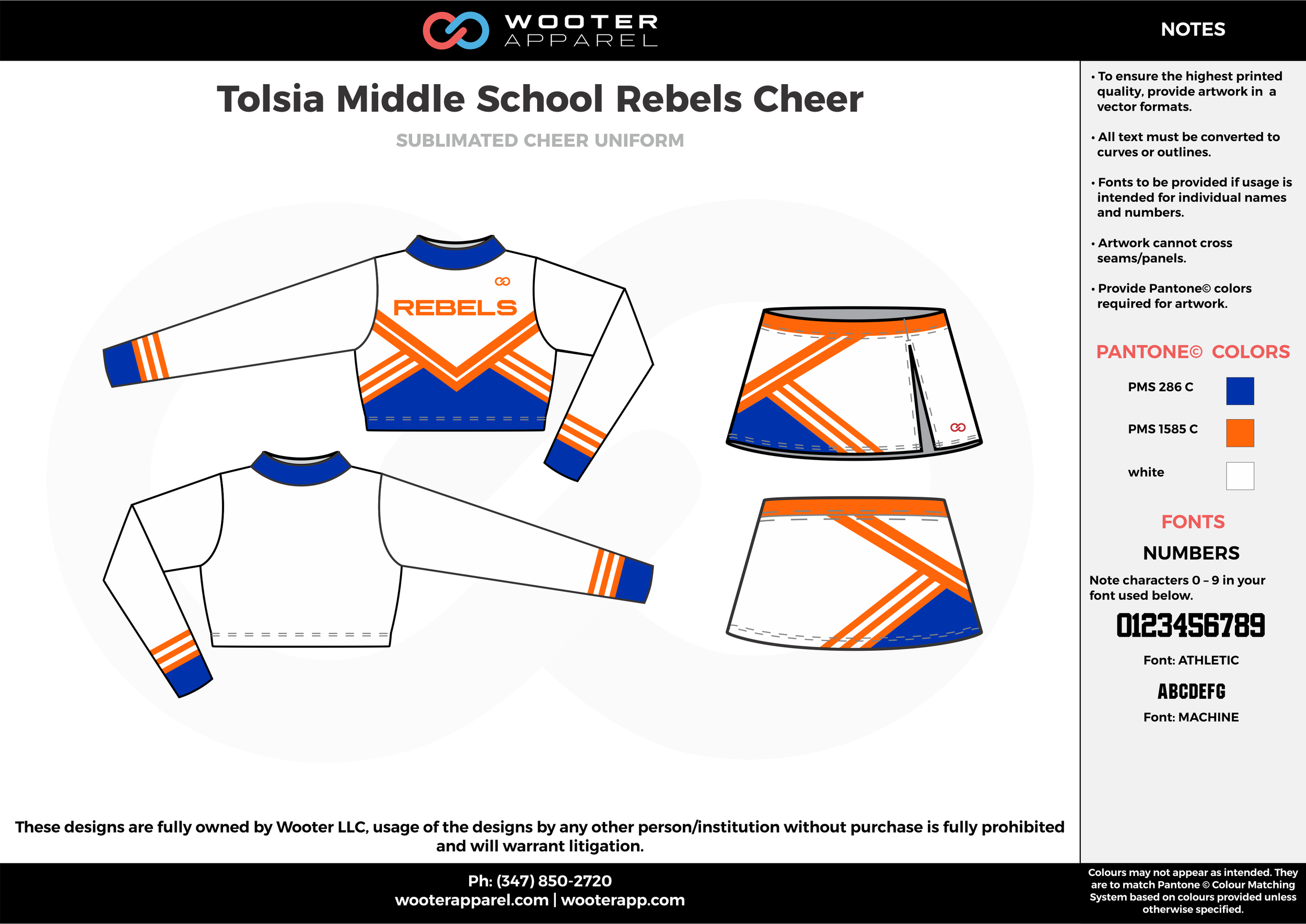 Tolsia Middle School Rebels Cheer white orange blue cheerleading uniforms, top, and skirt