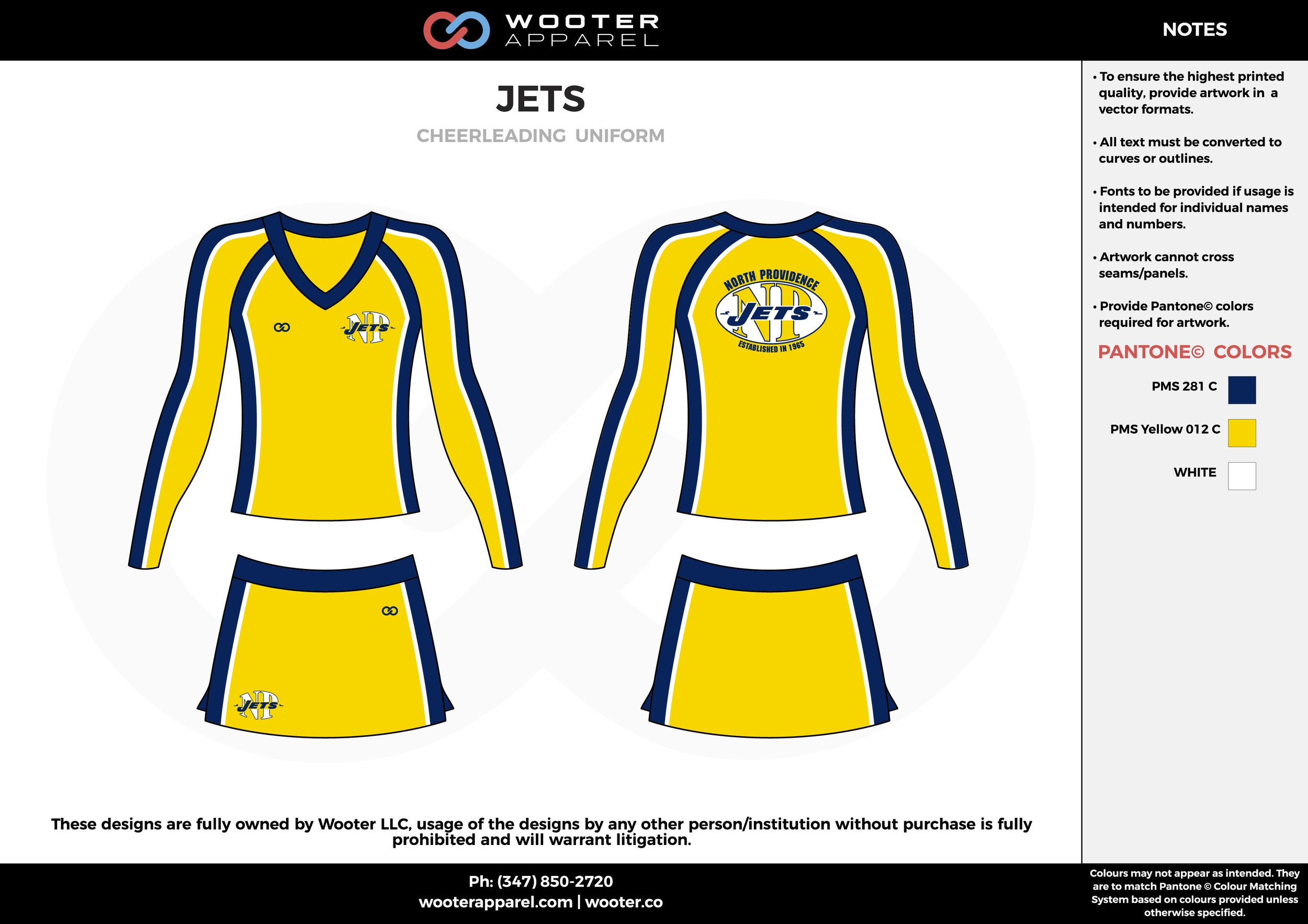 JETS yellow blue cheerleading uniforms, top, and skirt