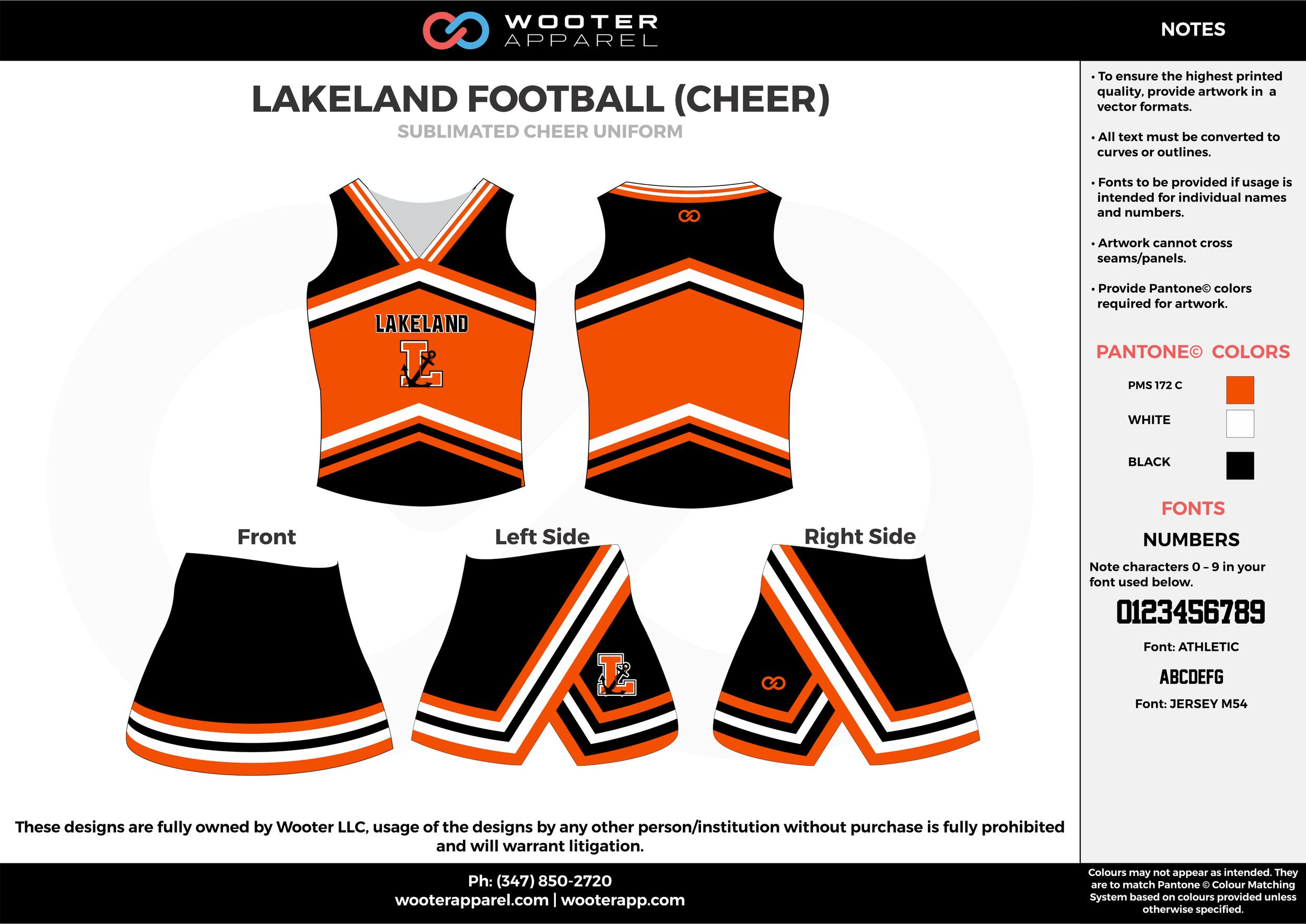 LAKELAND FOOTBALL orange black cheerleading uniforms, top, and skirt