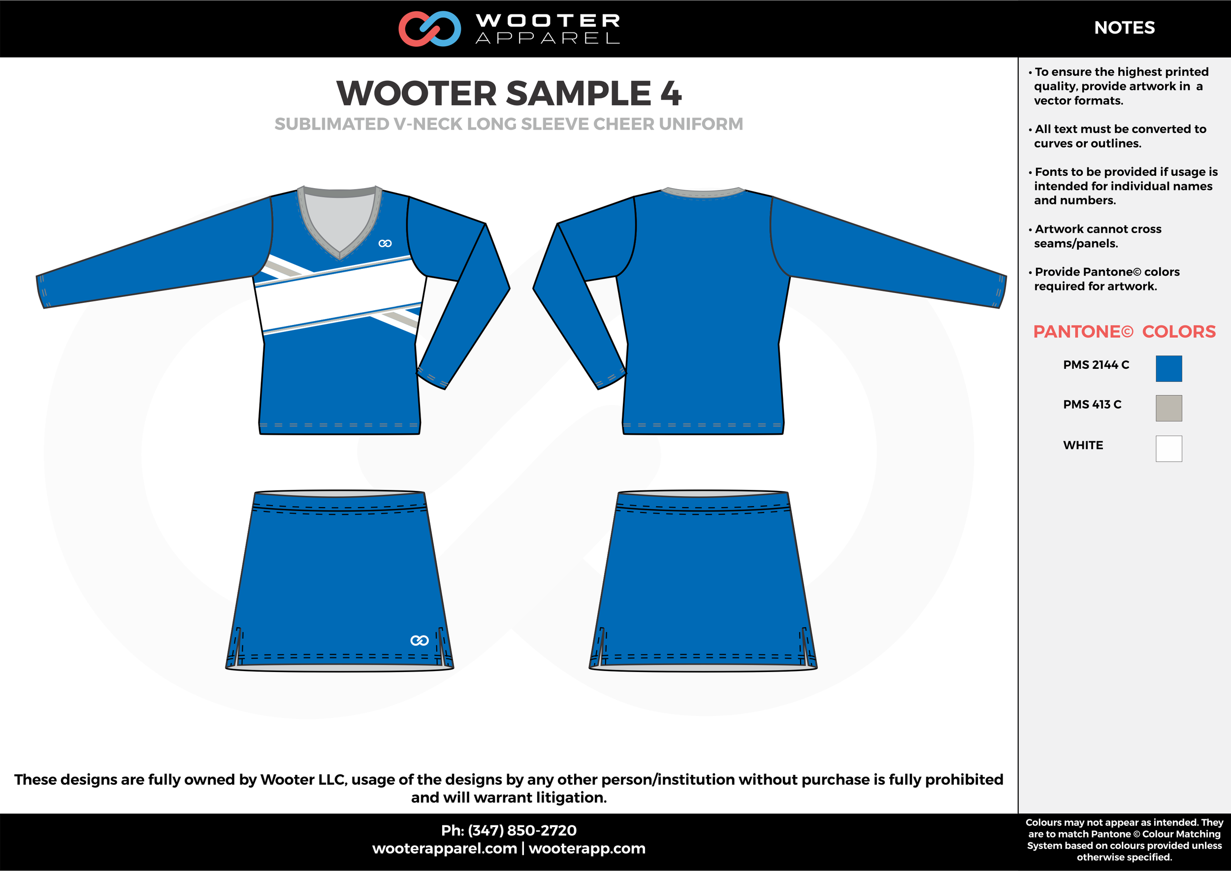 WOOTER SAMPLE blue white cheerleading uniforms, top, and skirt