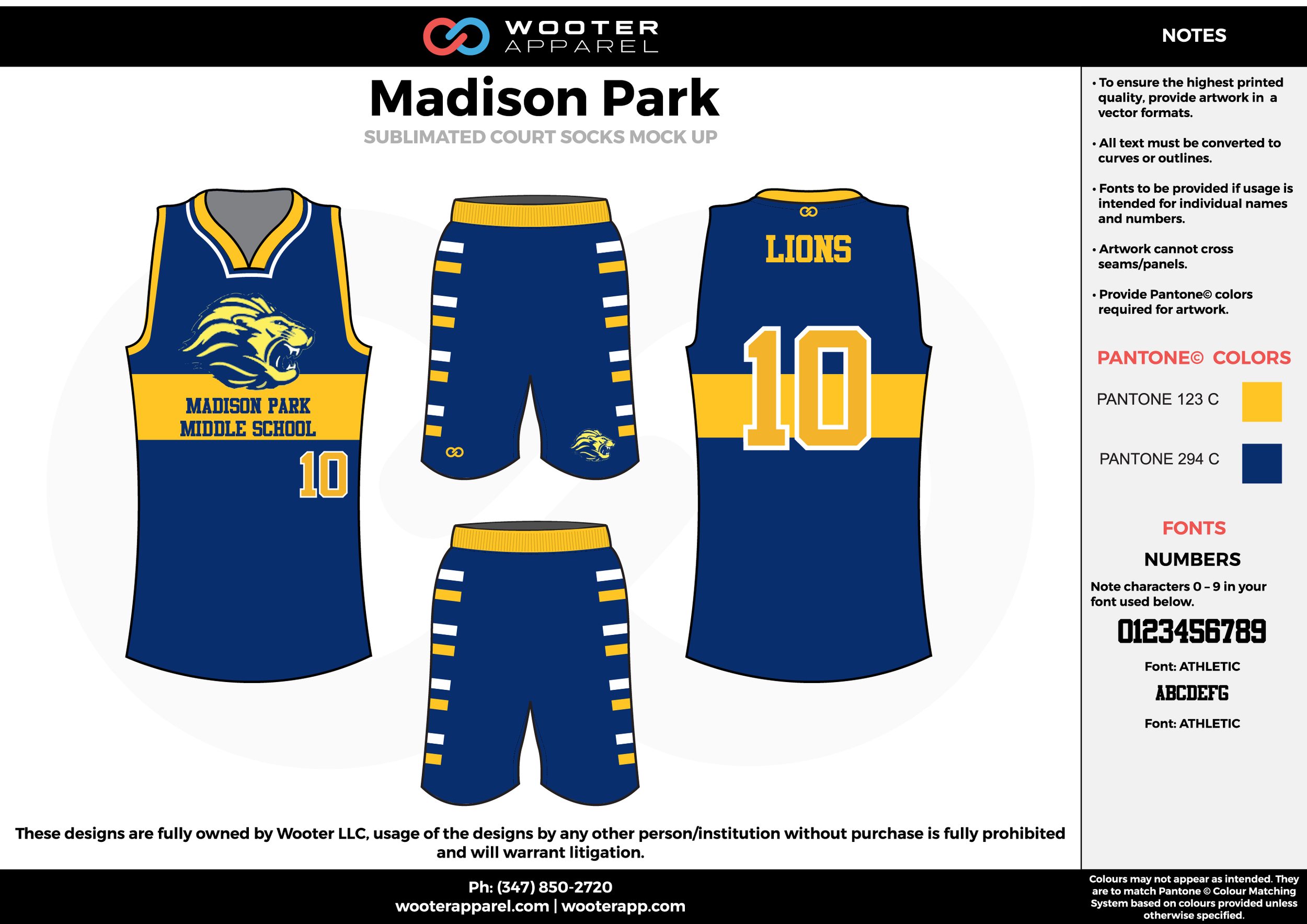 Madison Park blue yellow cheerleading uniforms, top, and shorts
