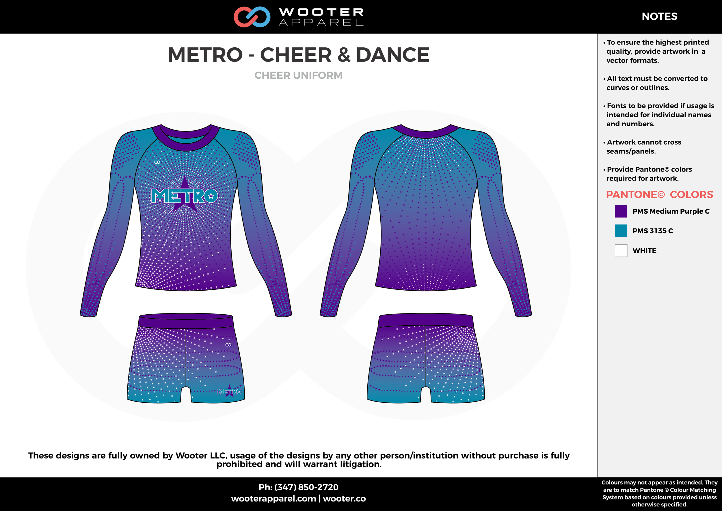 METRO-CHEER & DANCE blue violet cheerleading uniforms, top, and shorts