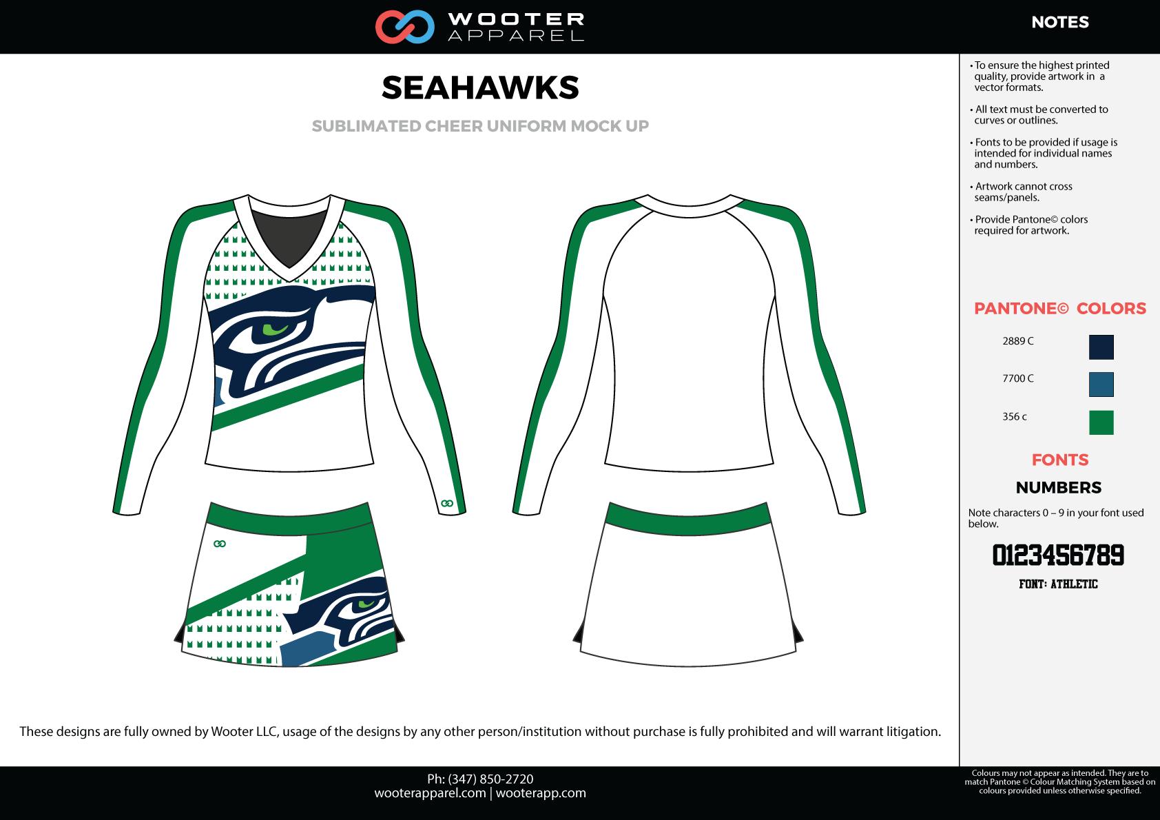 SEAHAWKS white green black cheerleading uniforms, top, and skirt