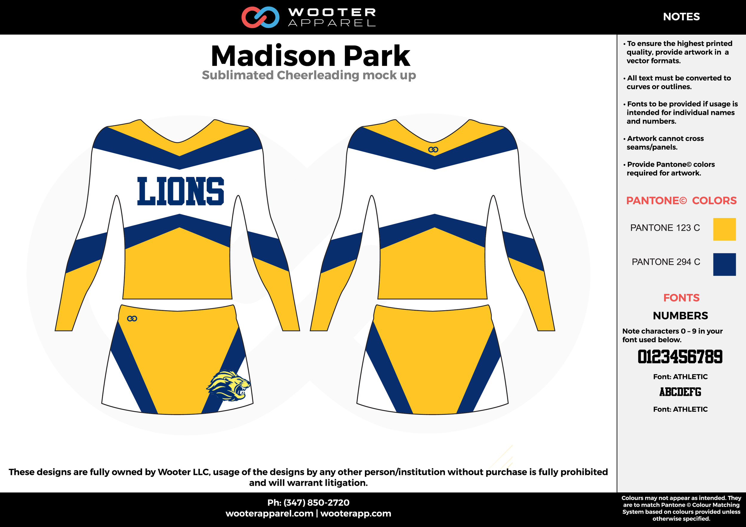 Madison Park yellow white blue cheerleading uniforms, top, and skirt