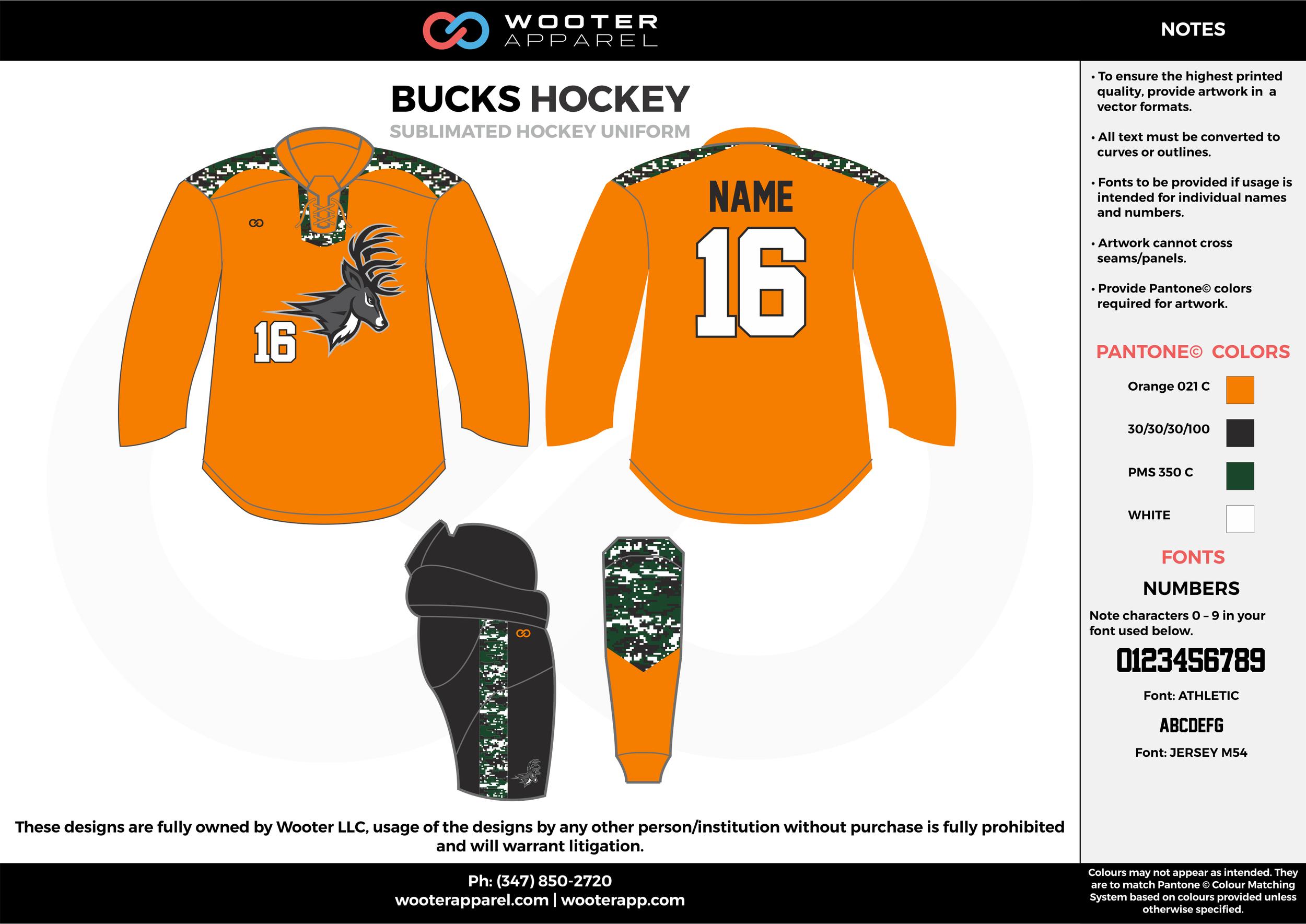 BUCKS HOCKEY orange black green white hockey uniforms jerseys socks