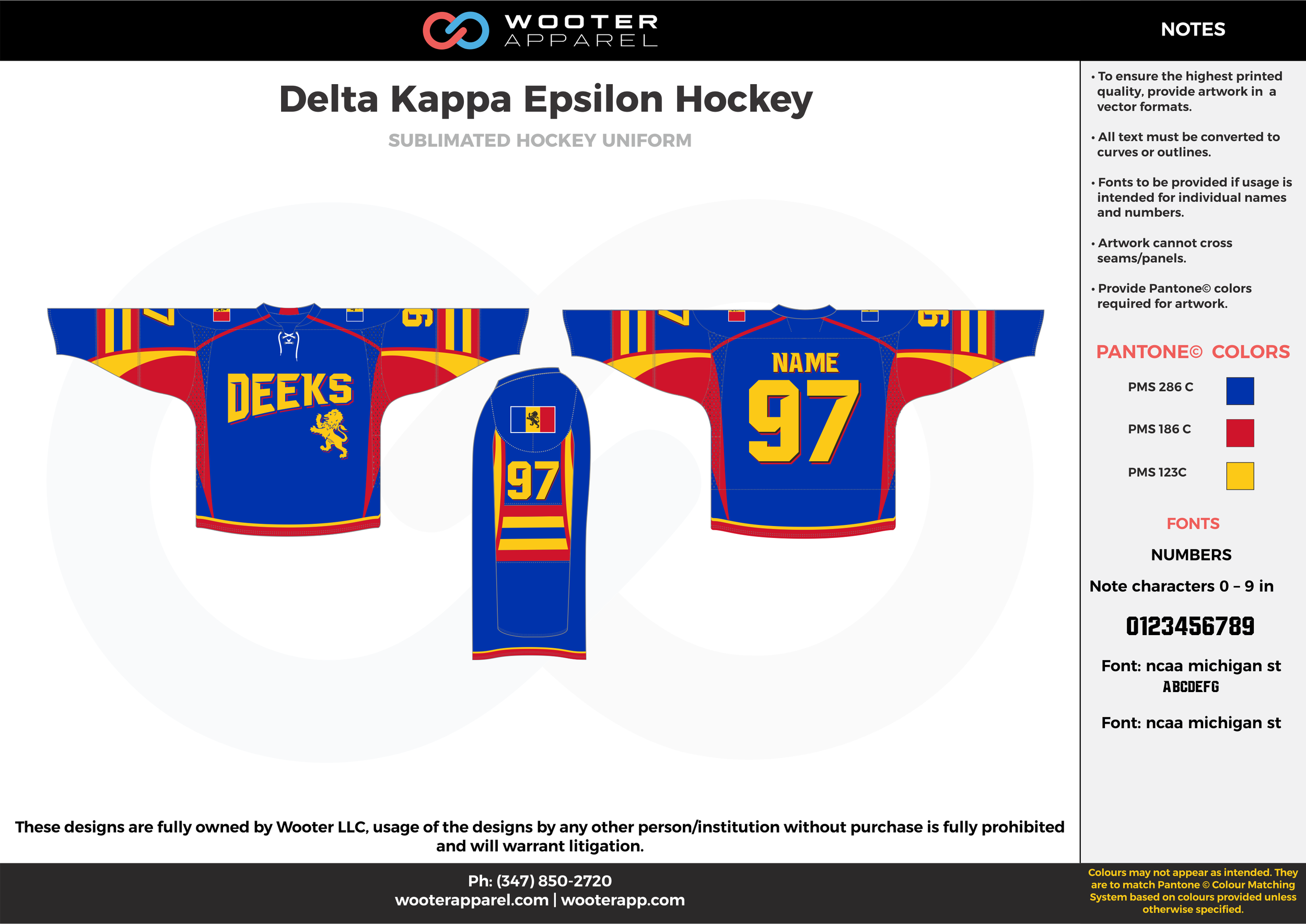 Delta Kappa Epsilon Hockey blue yellow red hockey uniforms jerseys
