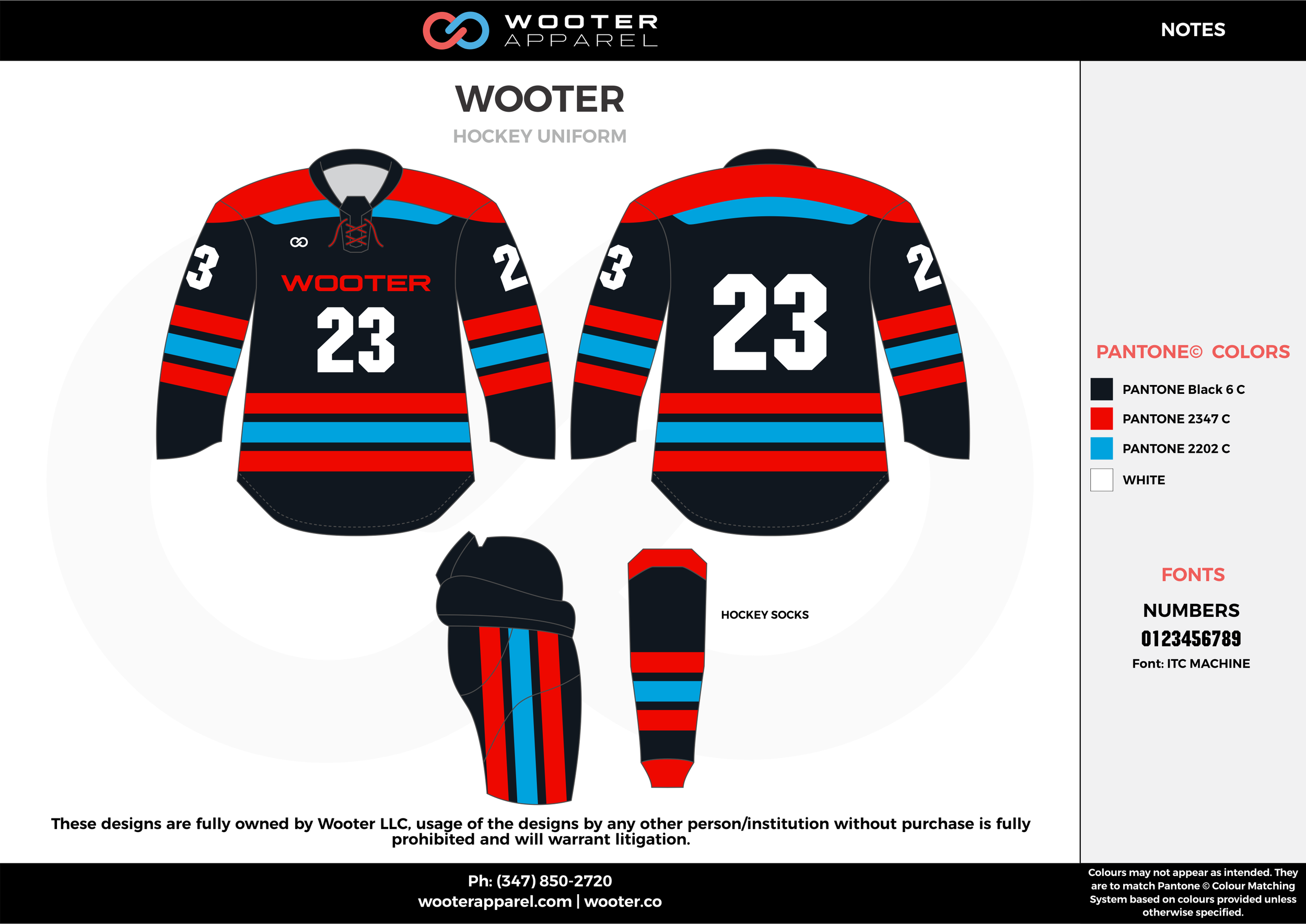 WOOTER red dark blue sky blue white hockey uniforms jerseys socks