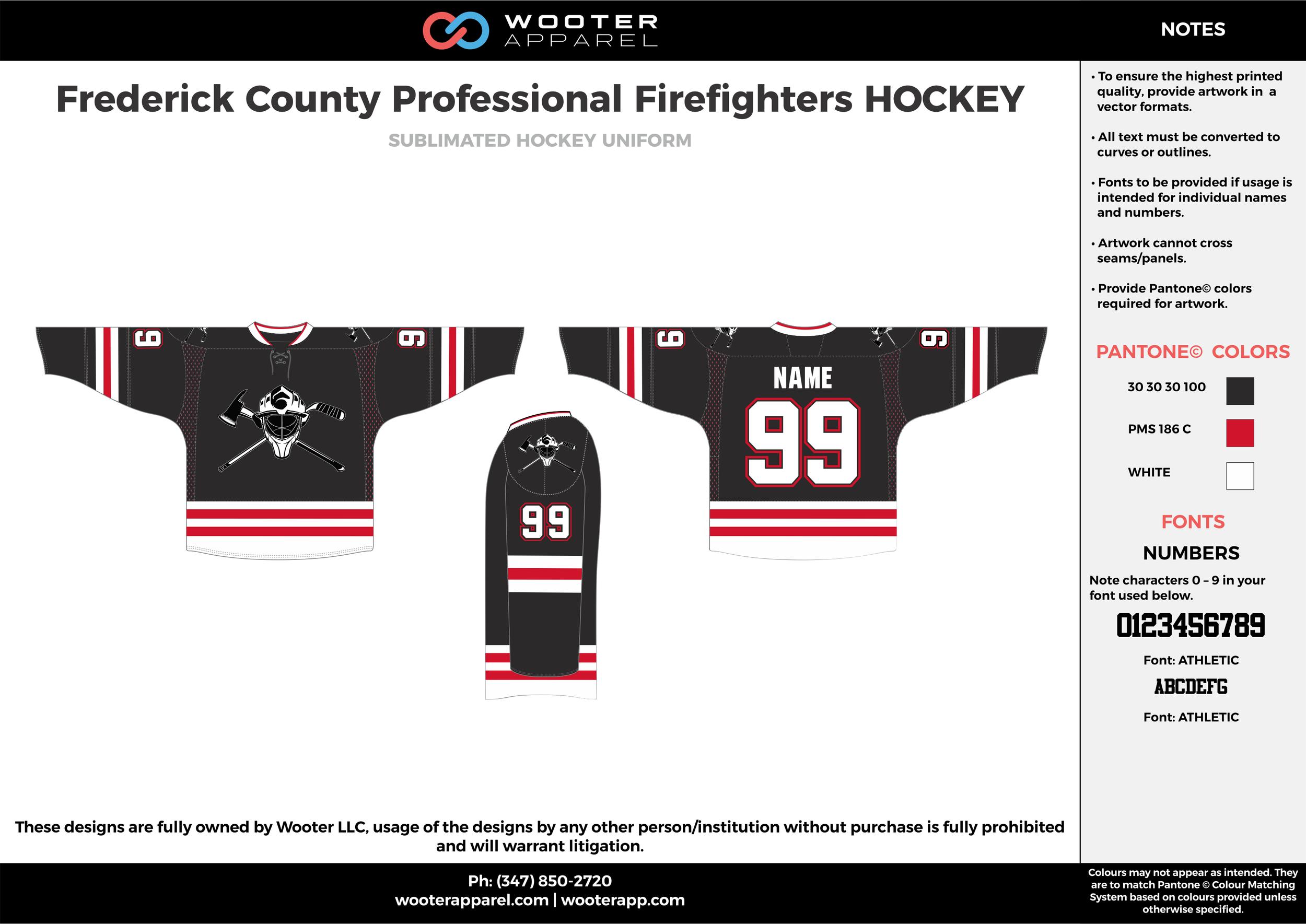 Frederick County Professional Firefighters HOCKEY black red white hockey uniforms jerseys socks