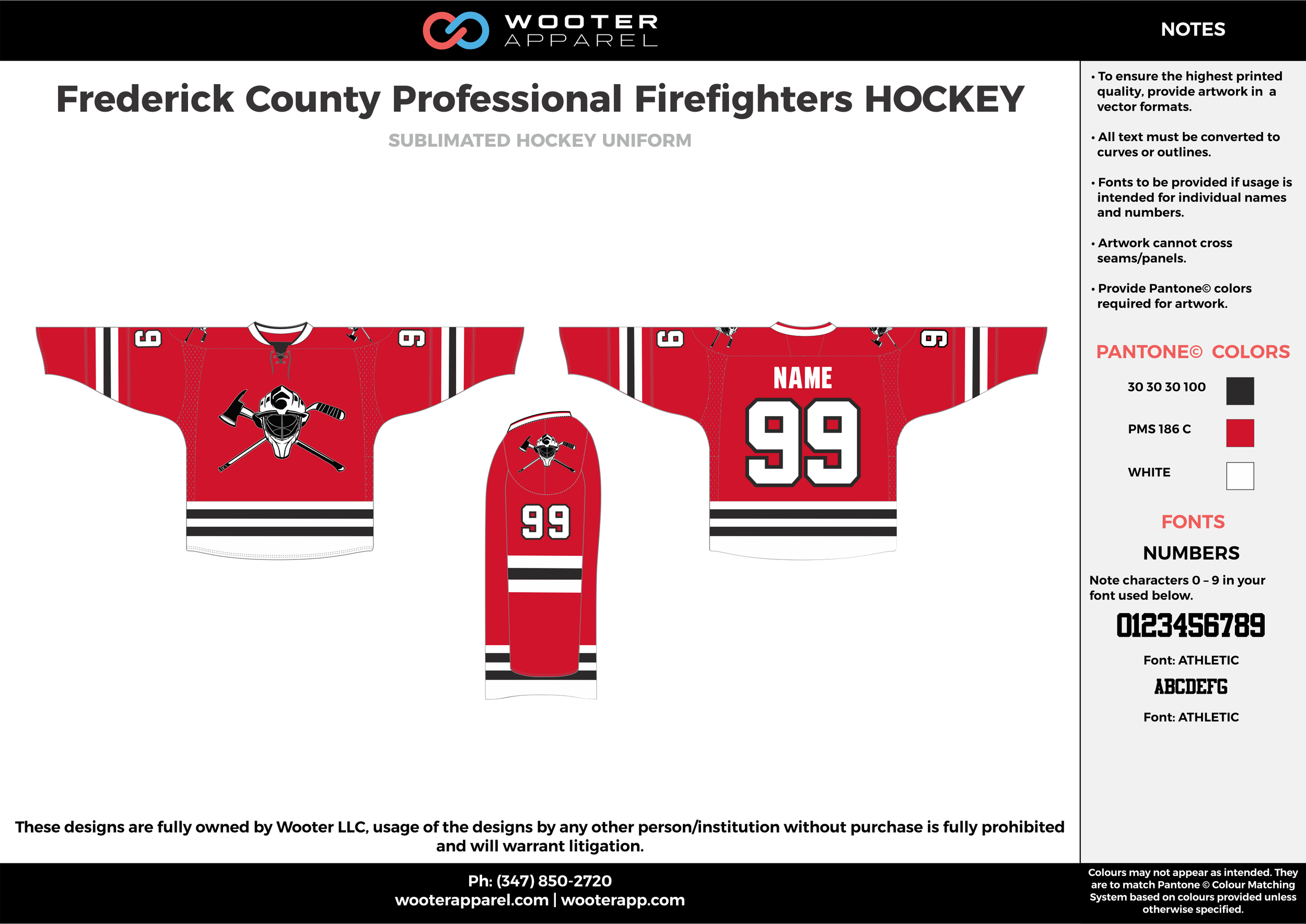 Frederick County Professional Firefighters HOCKEY red black white hockey uniforms jerseys socks