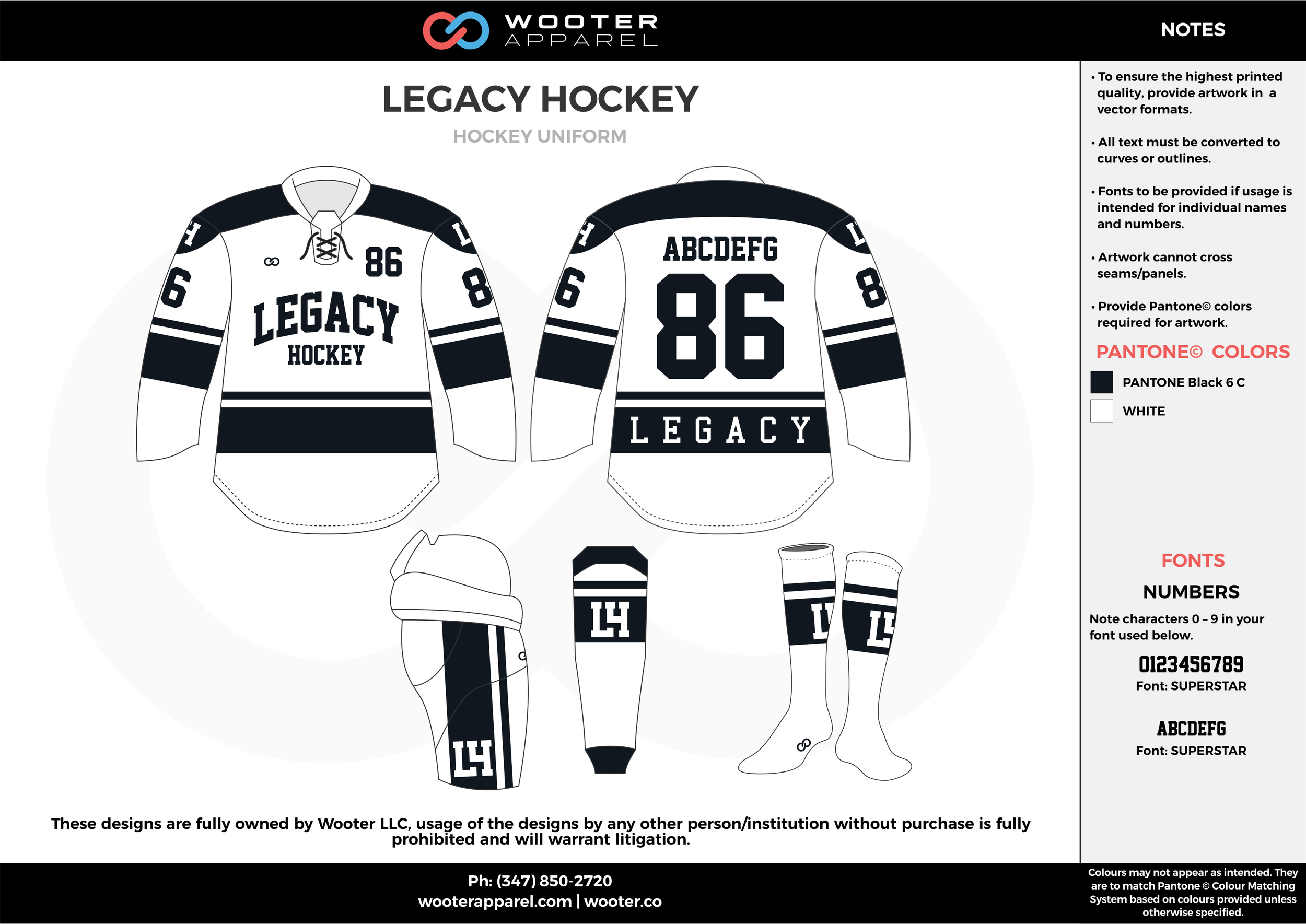 LEGACY HOCKEY white black hockey uniforms jerseys socks