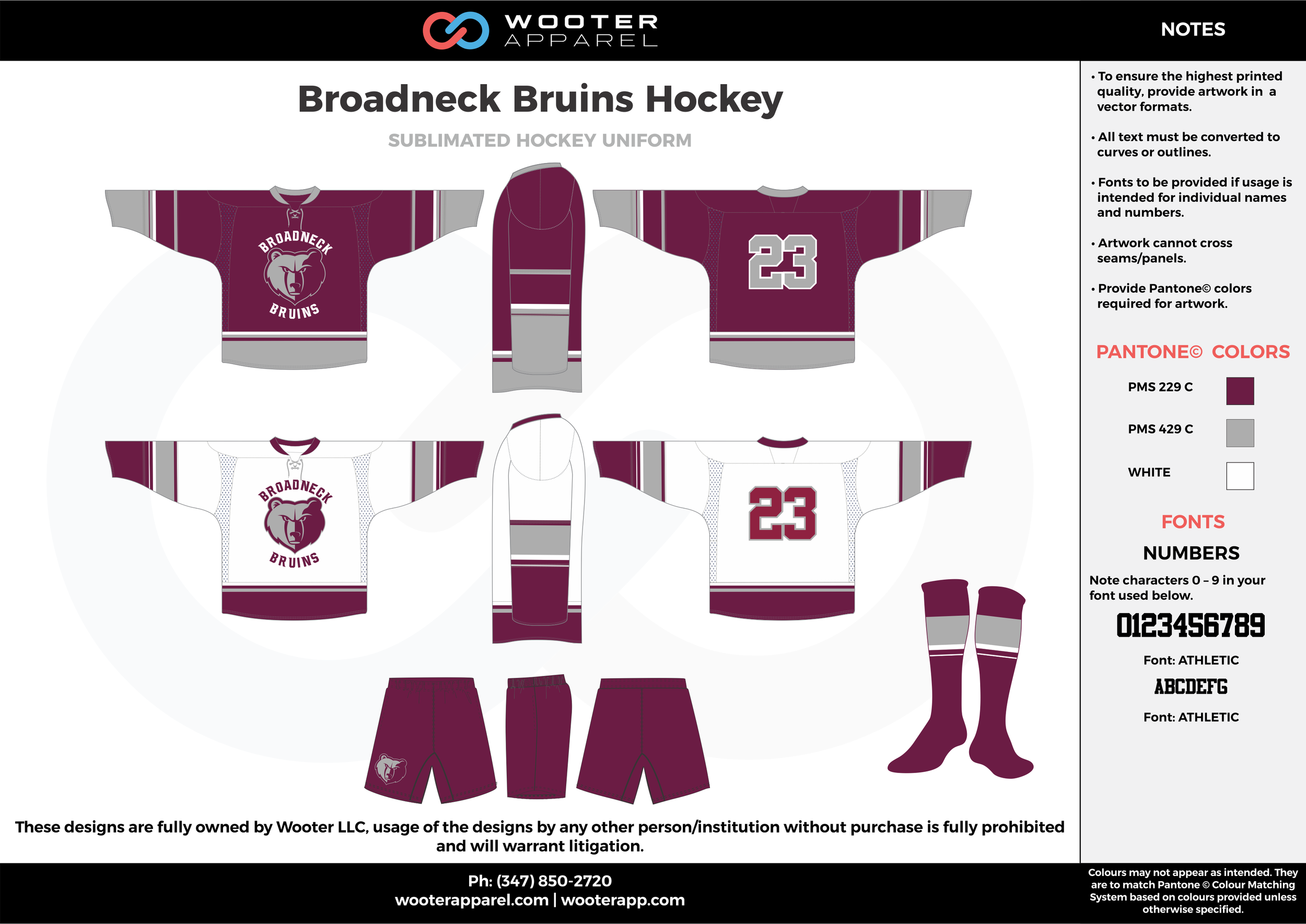 Broadneck Bruins Hockey purple gray white hockey uniforms jerseys socks