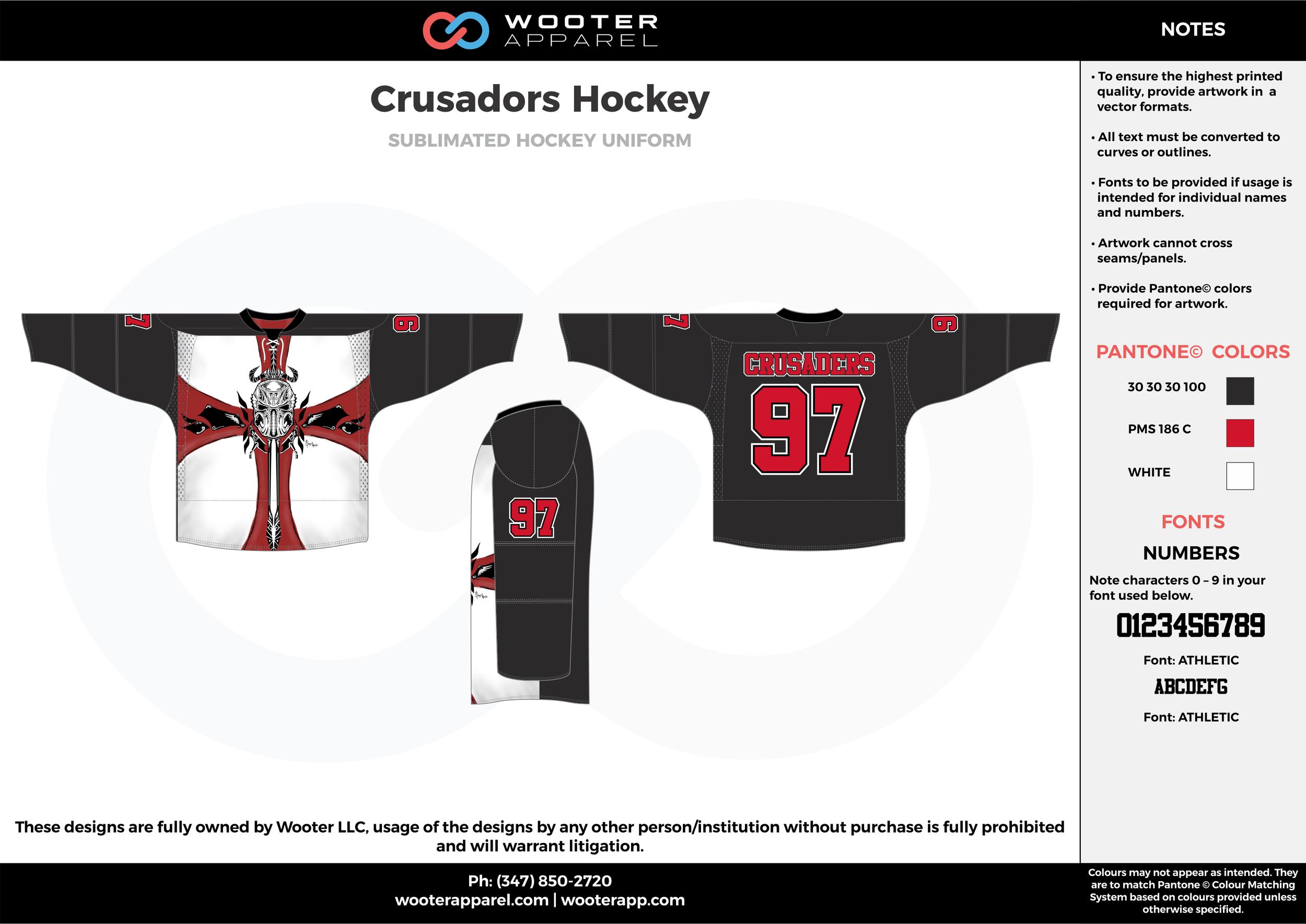 Crusadors Hockey black white red hockey uniforms jerseys socks